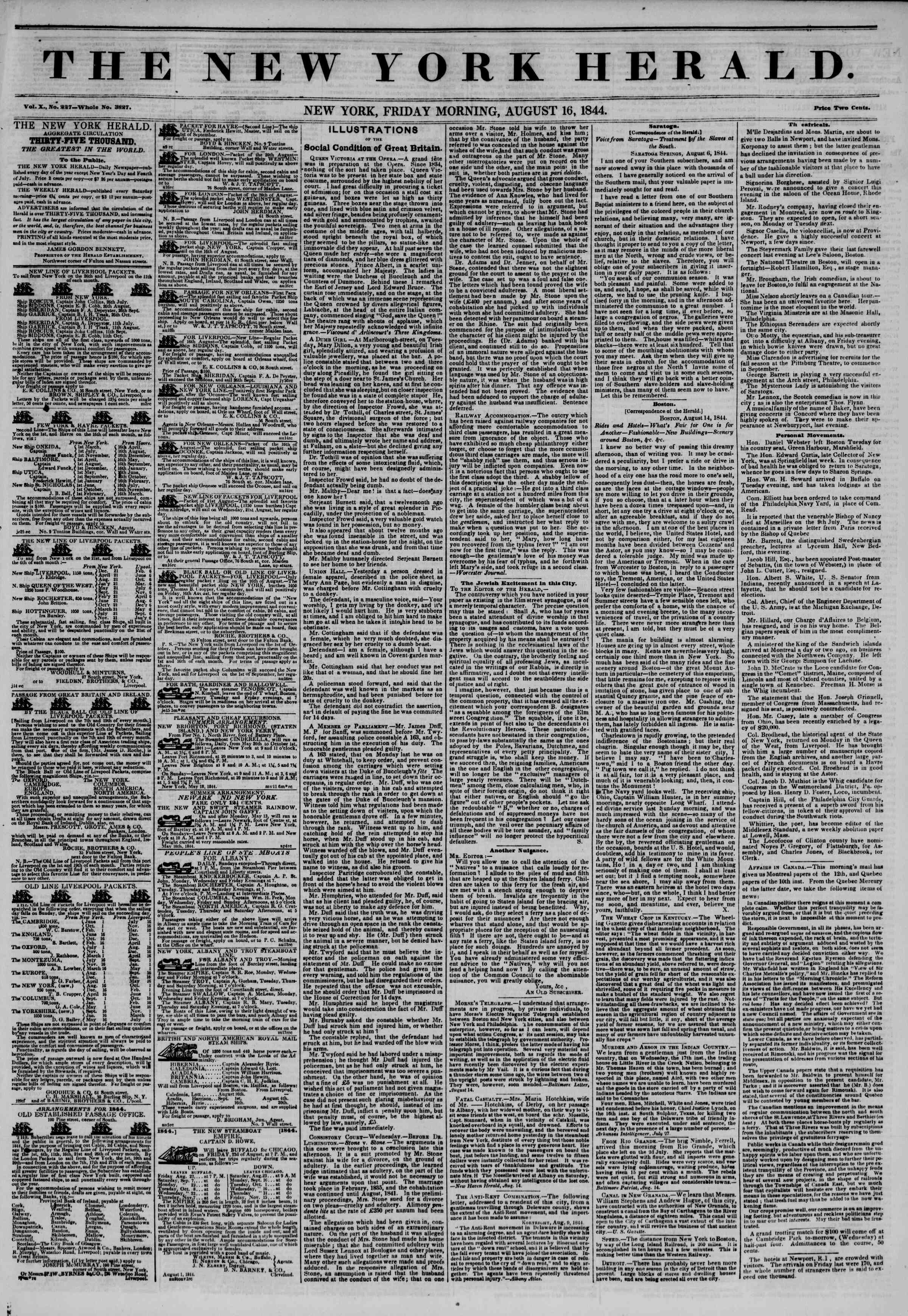 Newspaper of The New York Herald dated August 16, 1844 Page 1