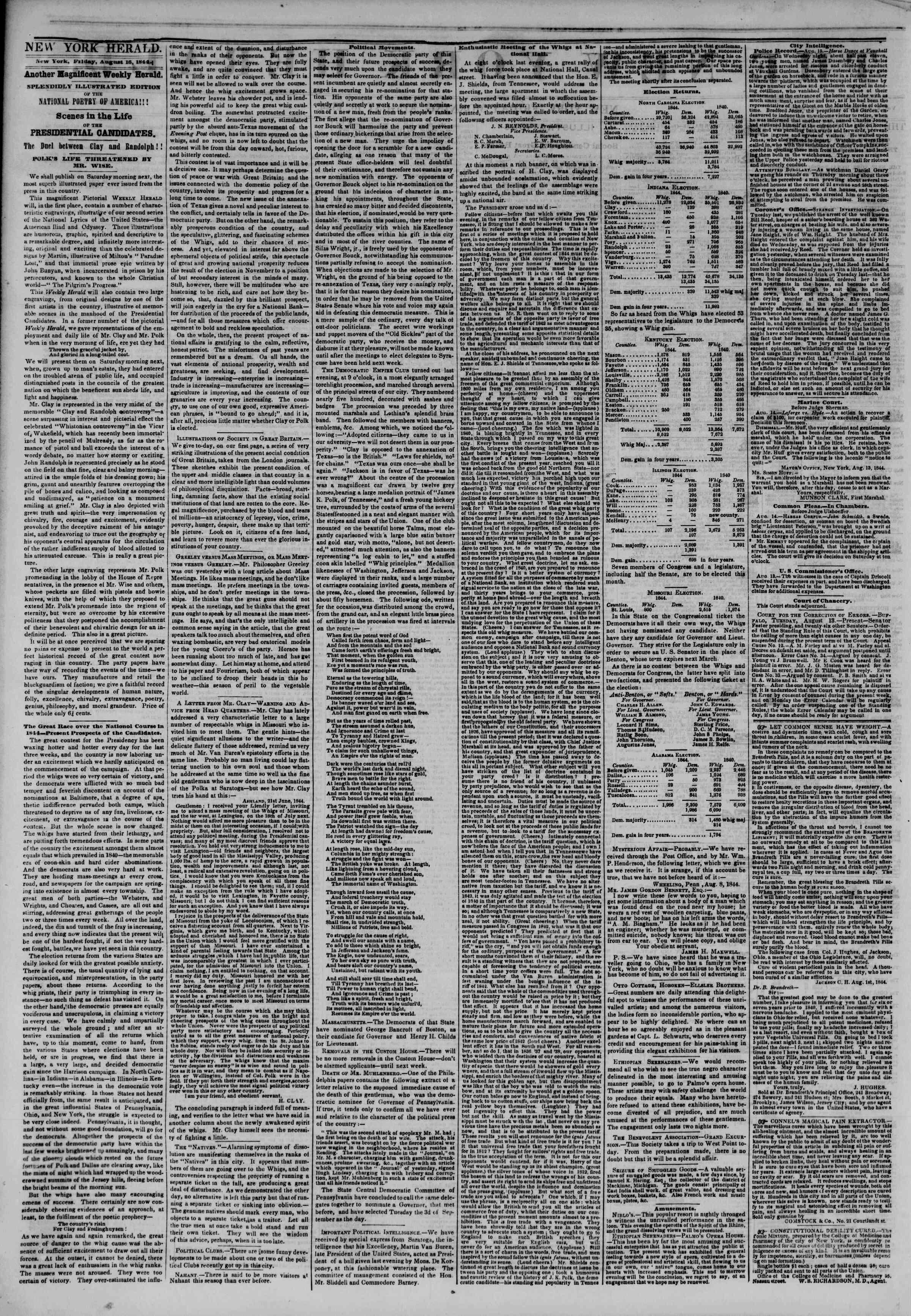 August 16, 1844 Tarihli The New York Herald Gazetesi Sayfa 2
