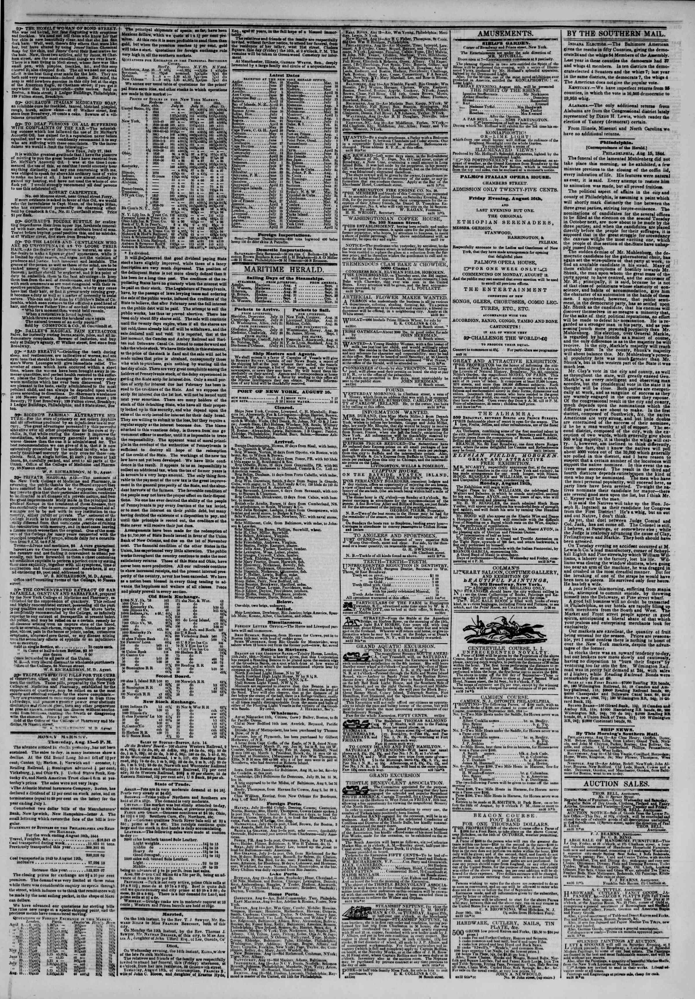 Newspaper of The New York Herald dated August 16, 1844 Page 3