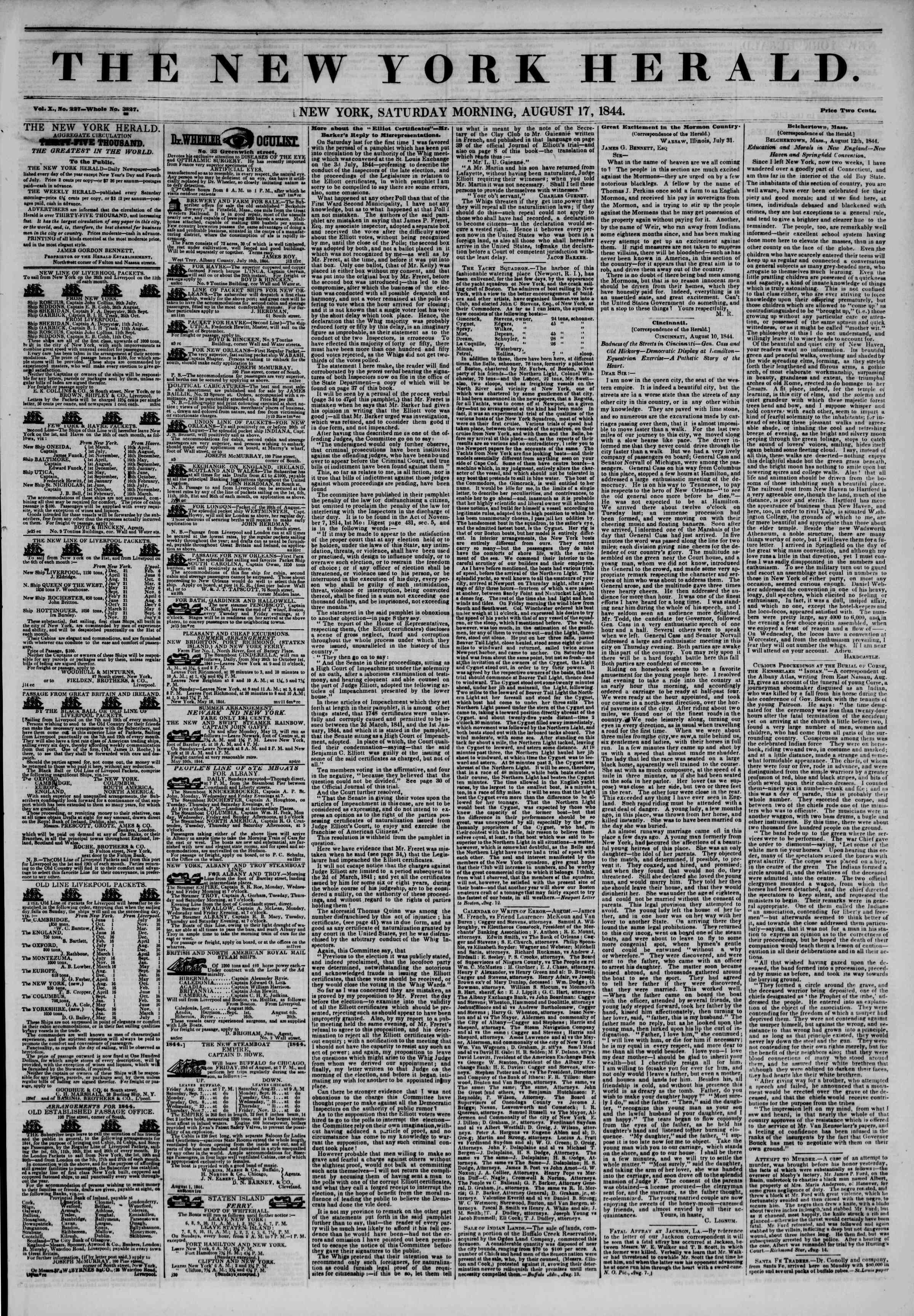 August 17, 1844 Tarihli The New York Herald Gazetesi Sayfa 1