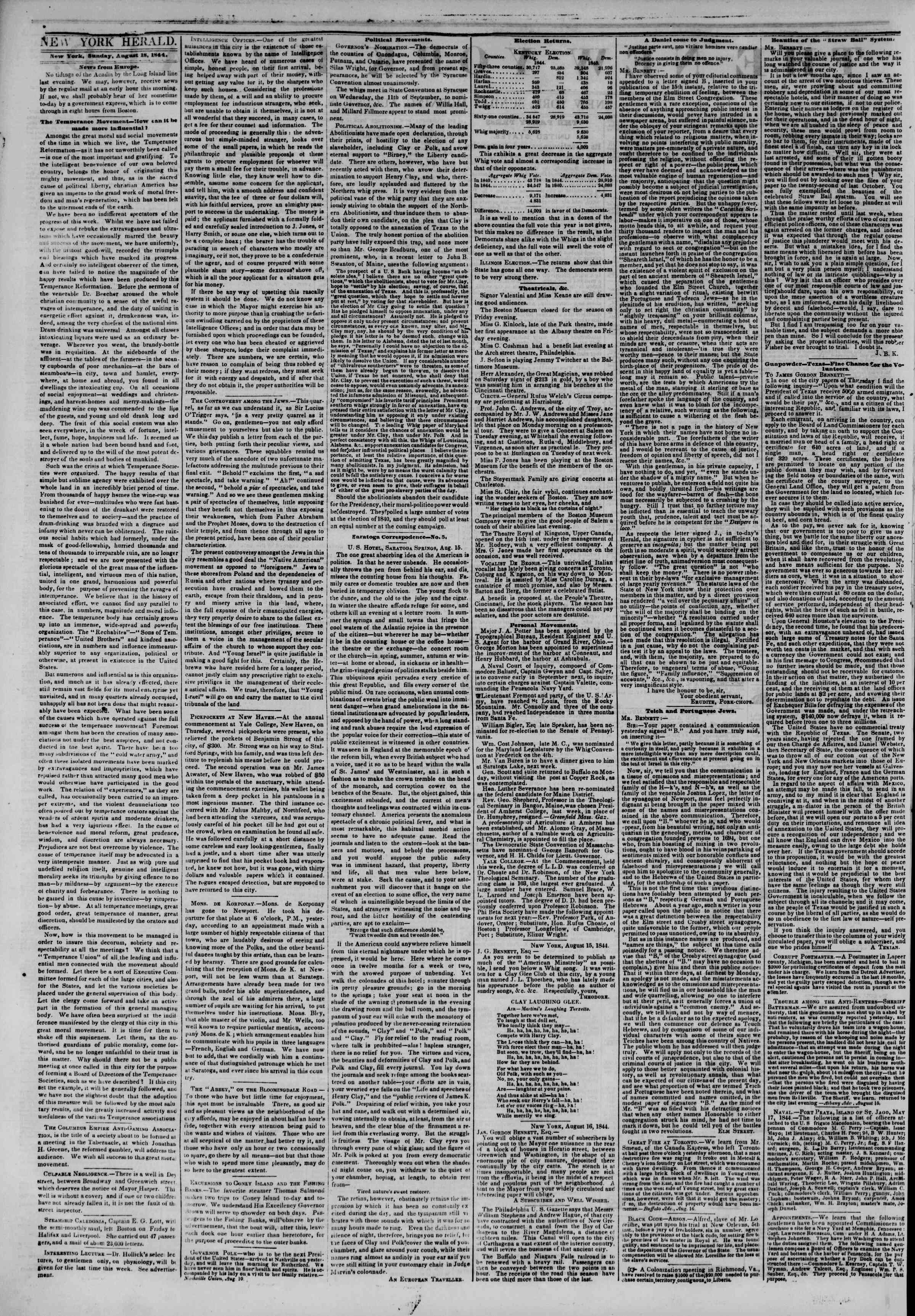 Newspaper of The New York Herald dated August 18, 1844 Page 2
