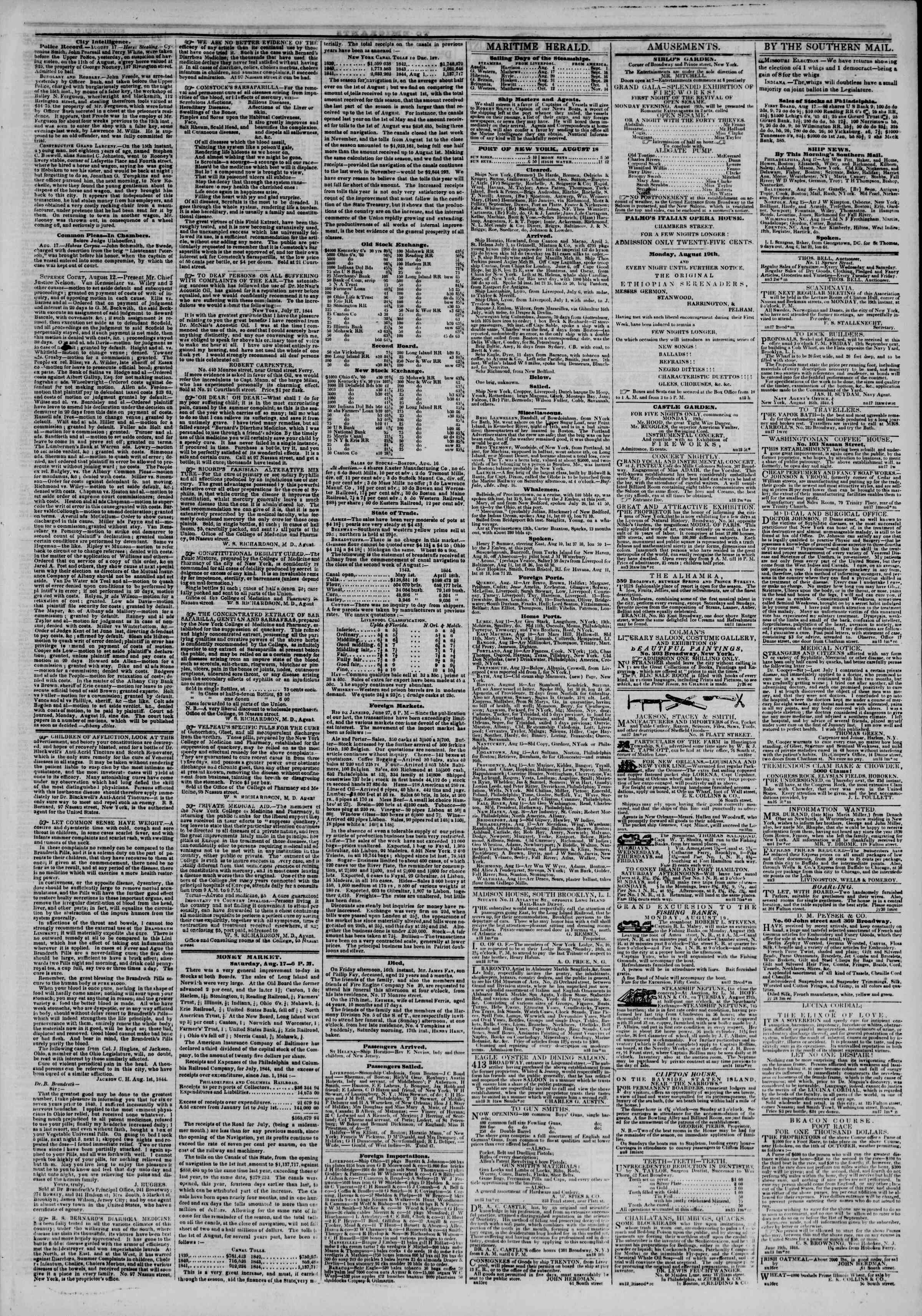 Newspaper of The New York Herald dated August 18, 1844 Page 3