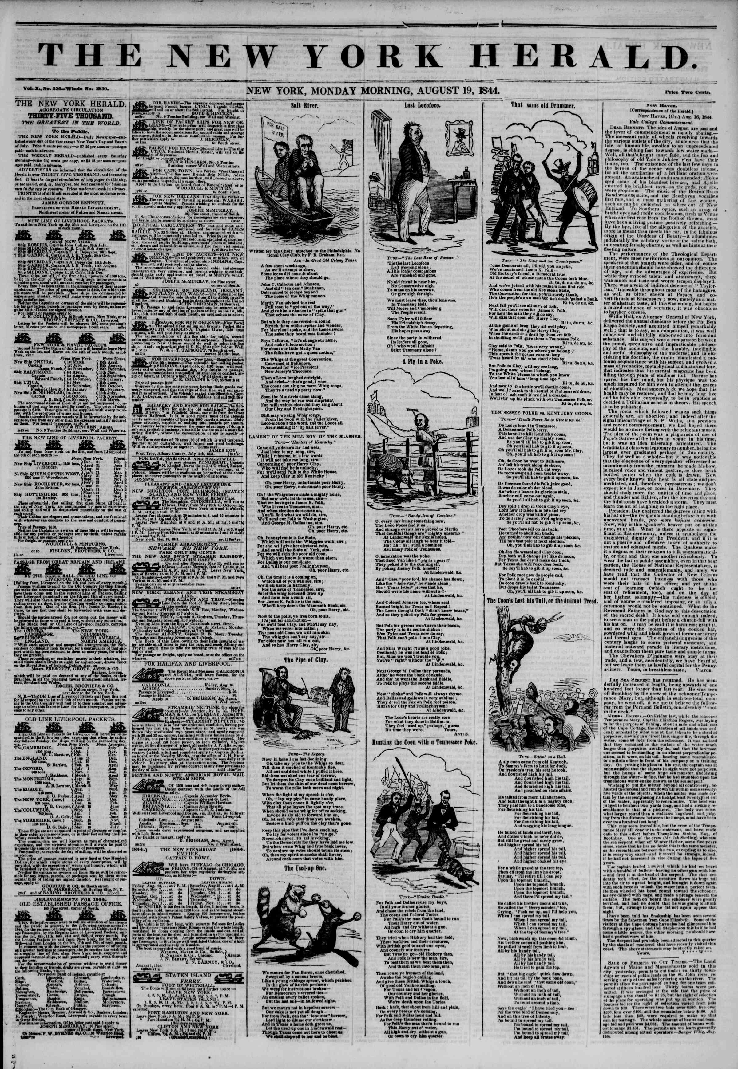 Newspaper of The New York Herald dated August 19, 1844 Page 1