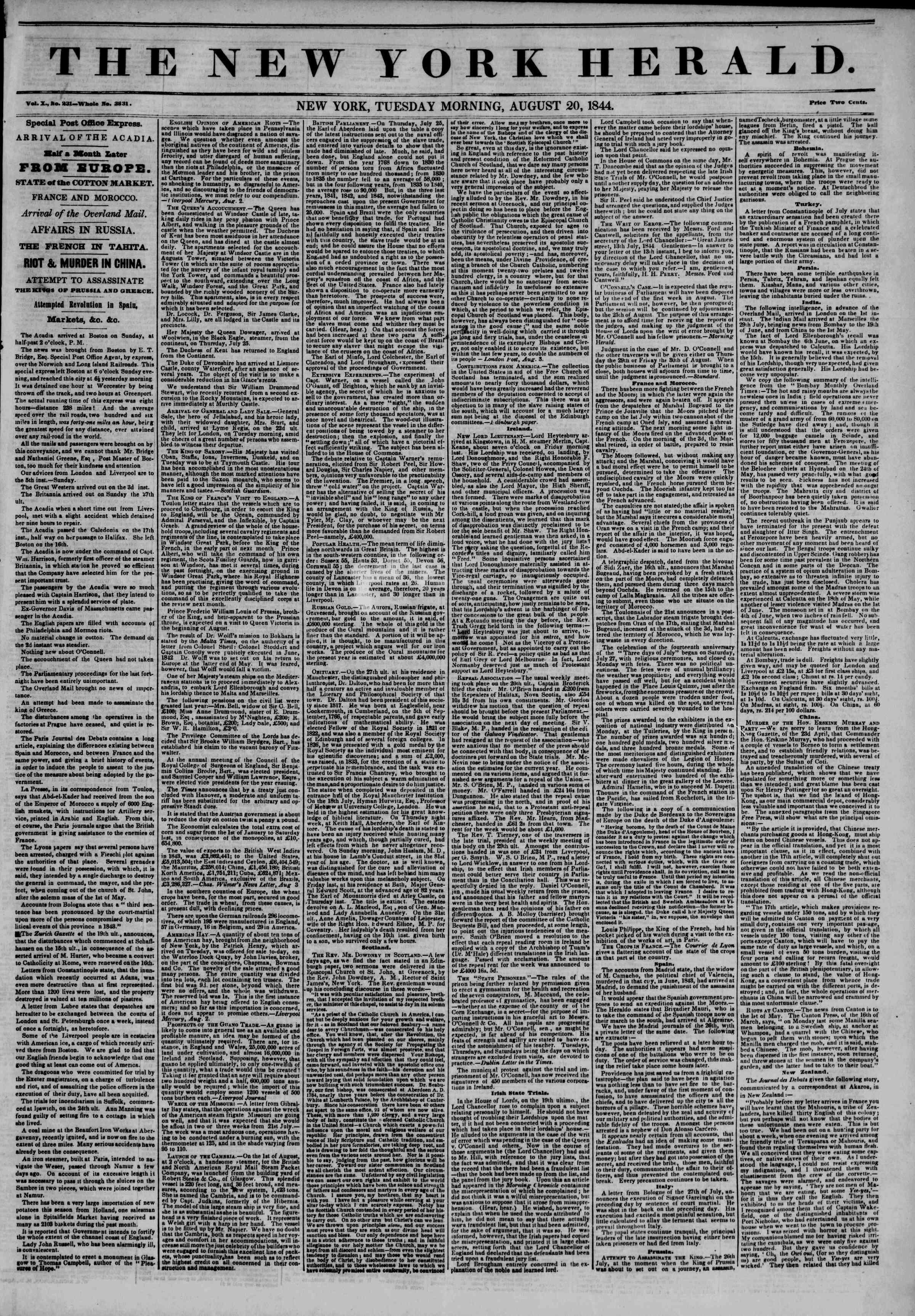 August 20, 1844 Tarihli The New York Herald Gazetesi Sayfa 1