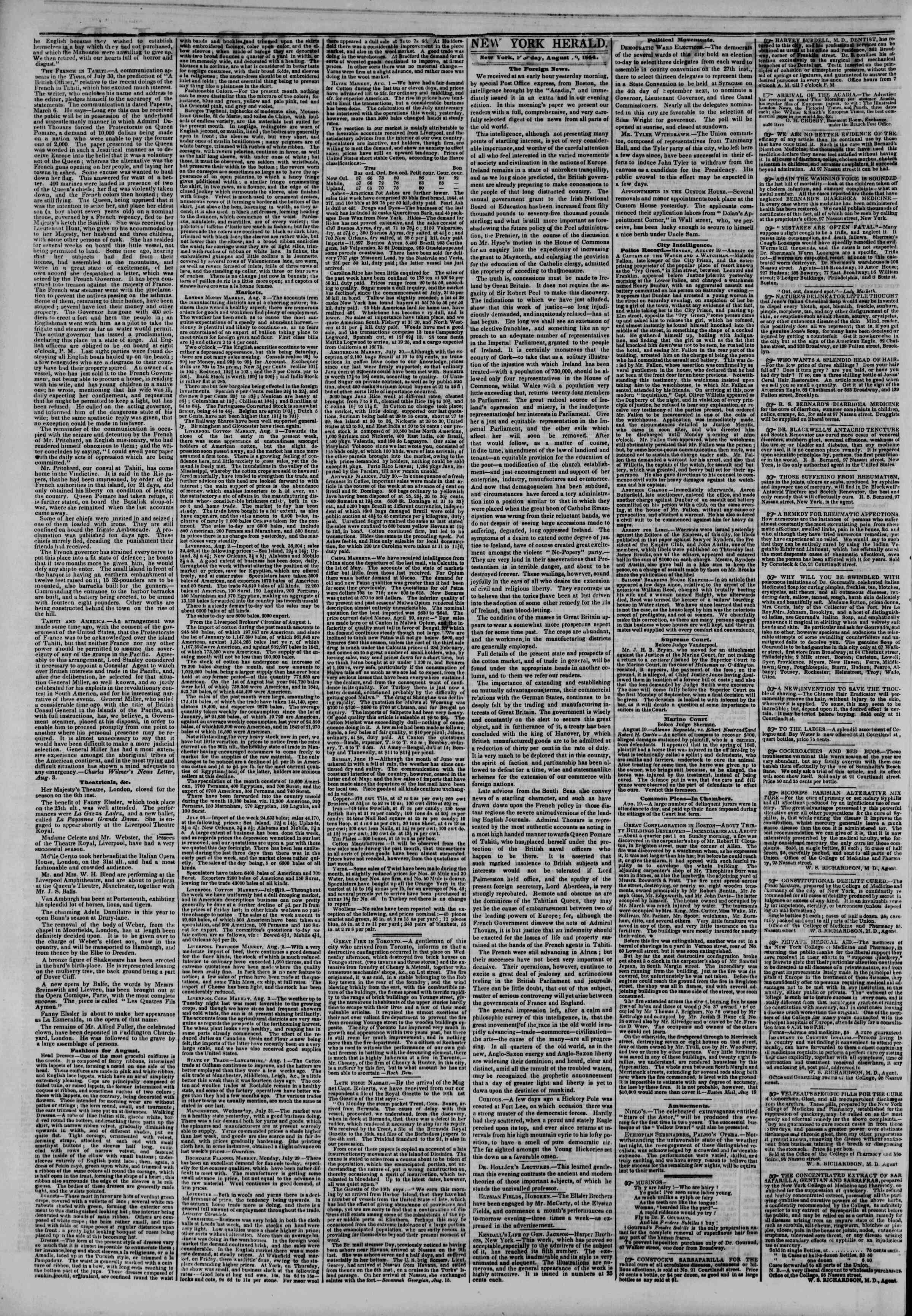 Newspaper of The New York Herald dated August 20, 1844 Page 2