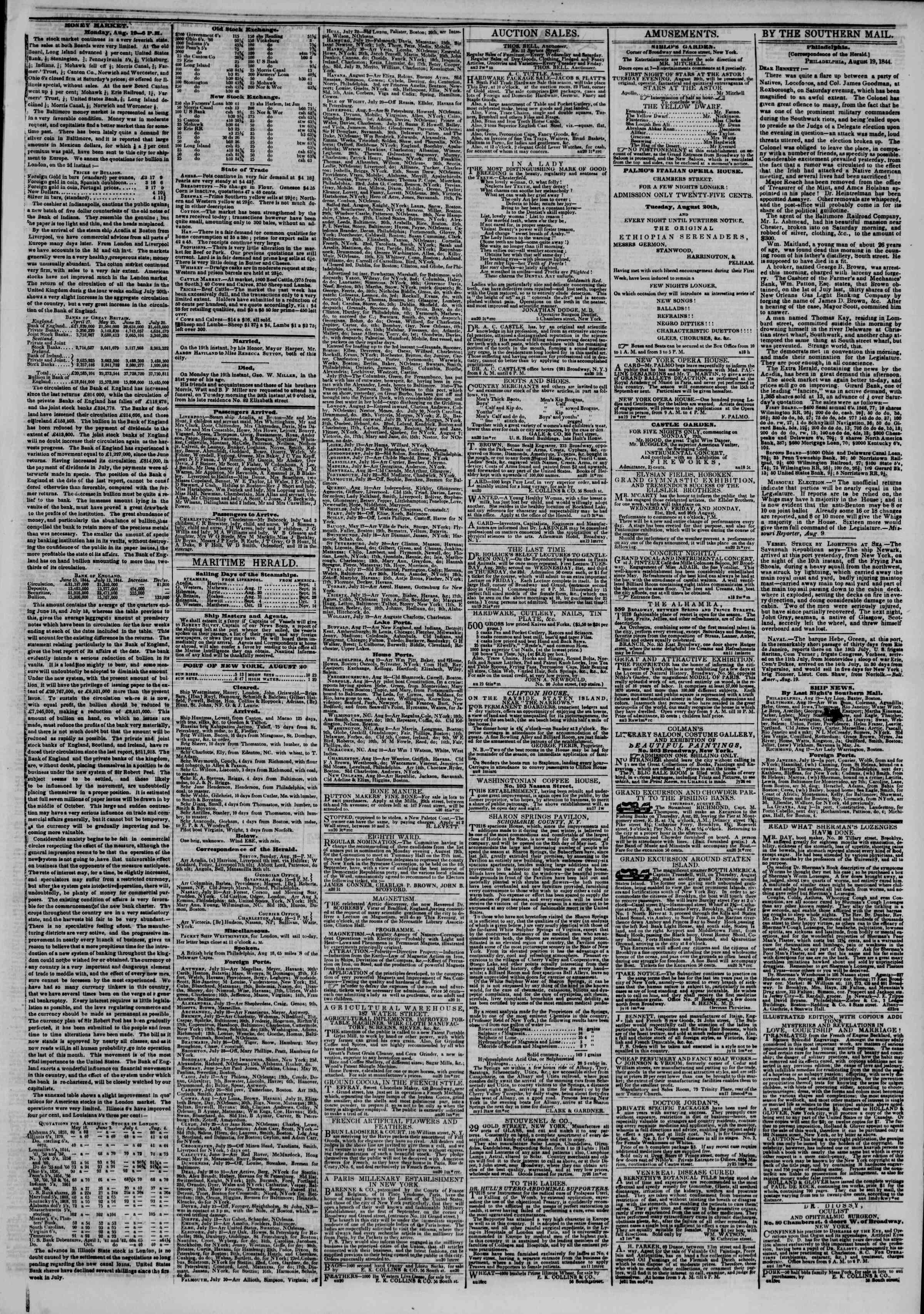 August 20, 1844 Tarihli The New York Herald Gazetesi Sayfa 3