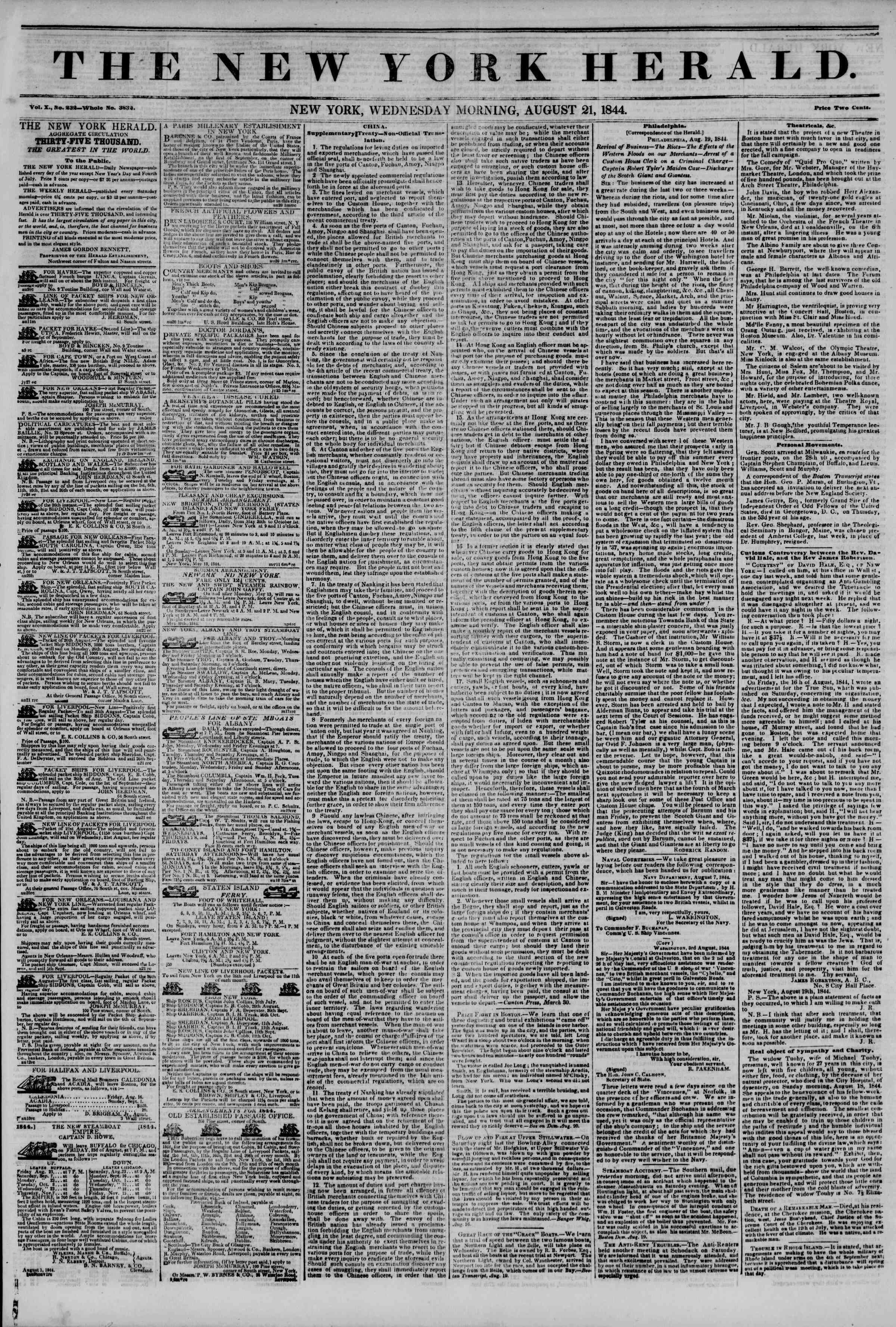 21 Ağustos 1844 Tarihli The New York Herald Gazetesi Sayfa 1
