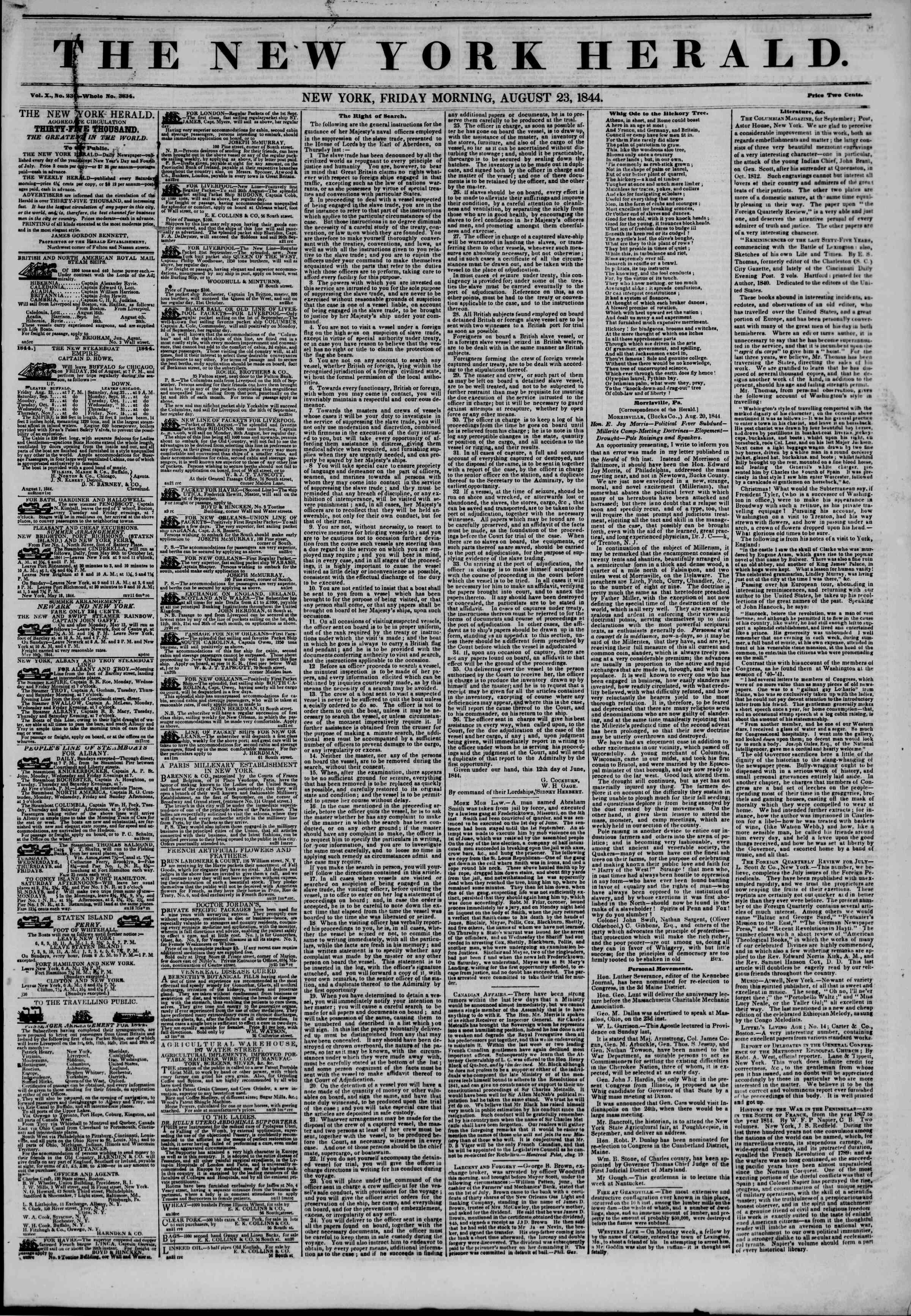 August 23, 1844 Tarihli The New York Herald Gazetesi Sayfa 1