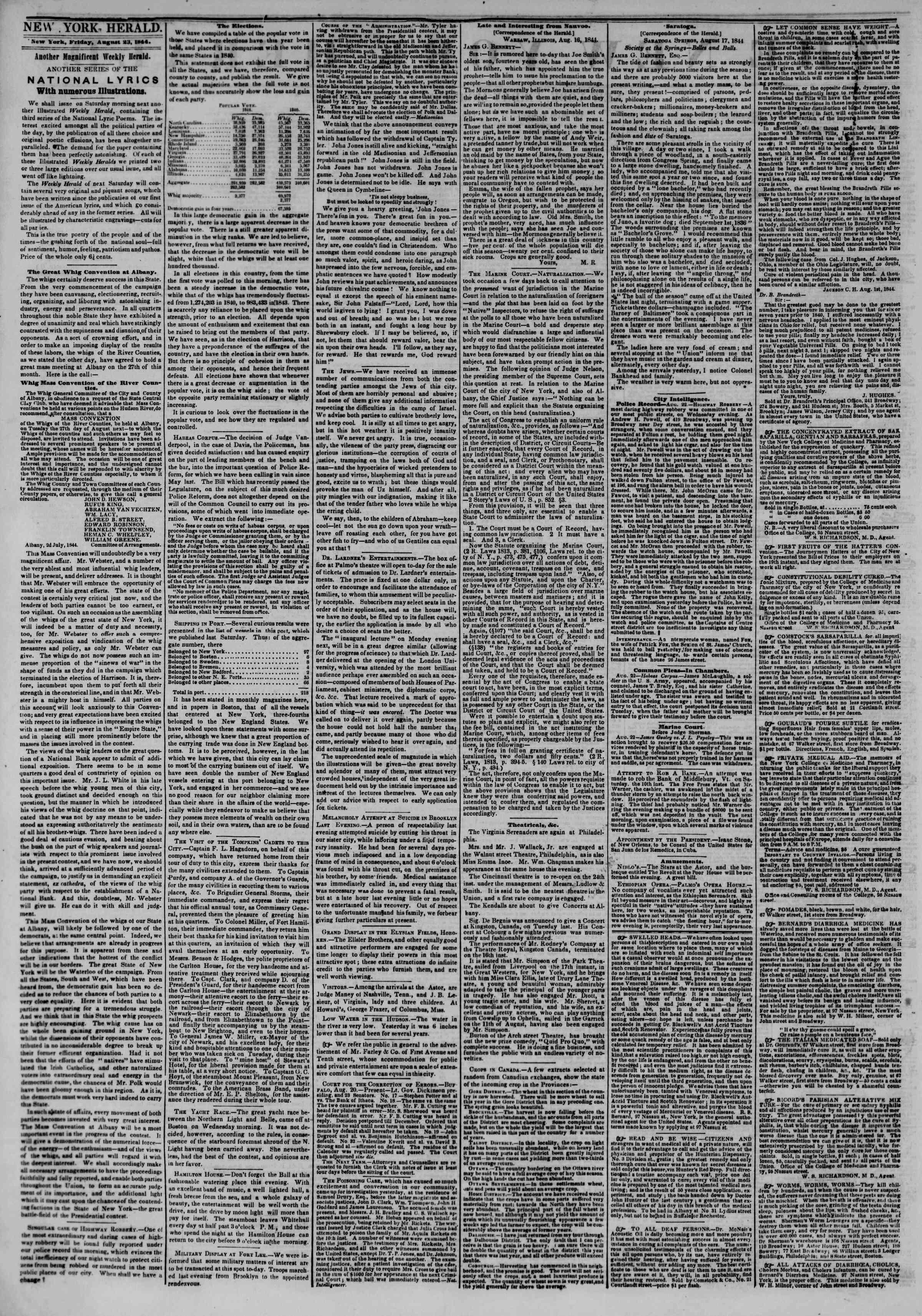 August 23, 1844 Tarihli The New York Herald Gazetesi Sayfa 2