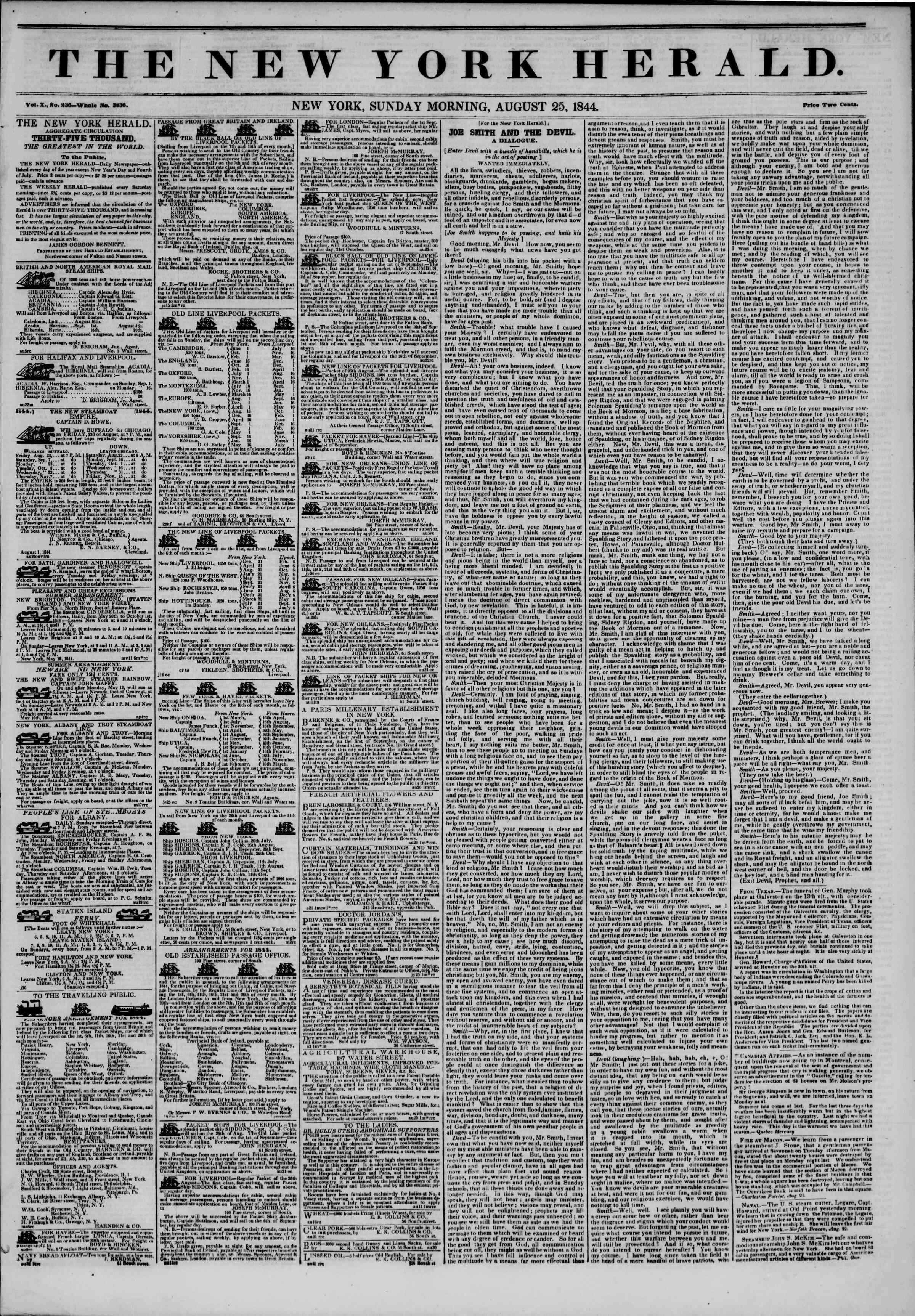 August 25, 1844 Tarihli The New York Herald Gazetesi Sayfa 1
