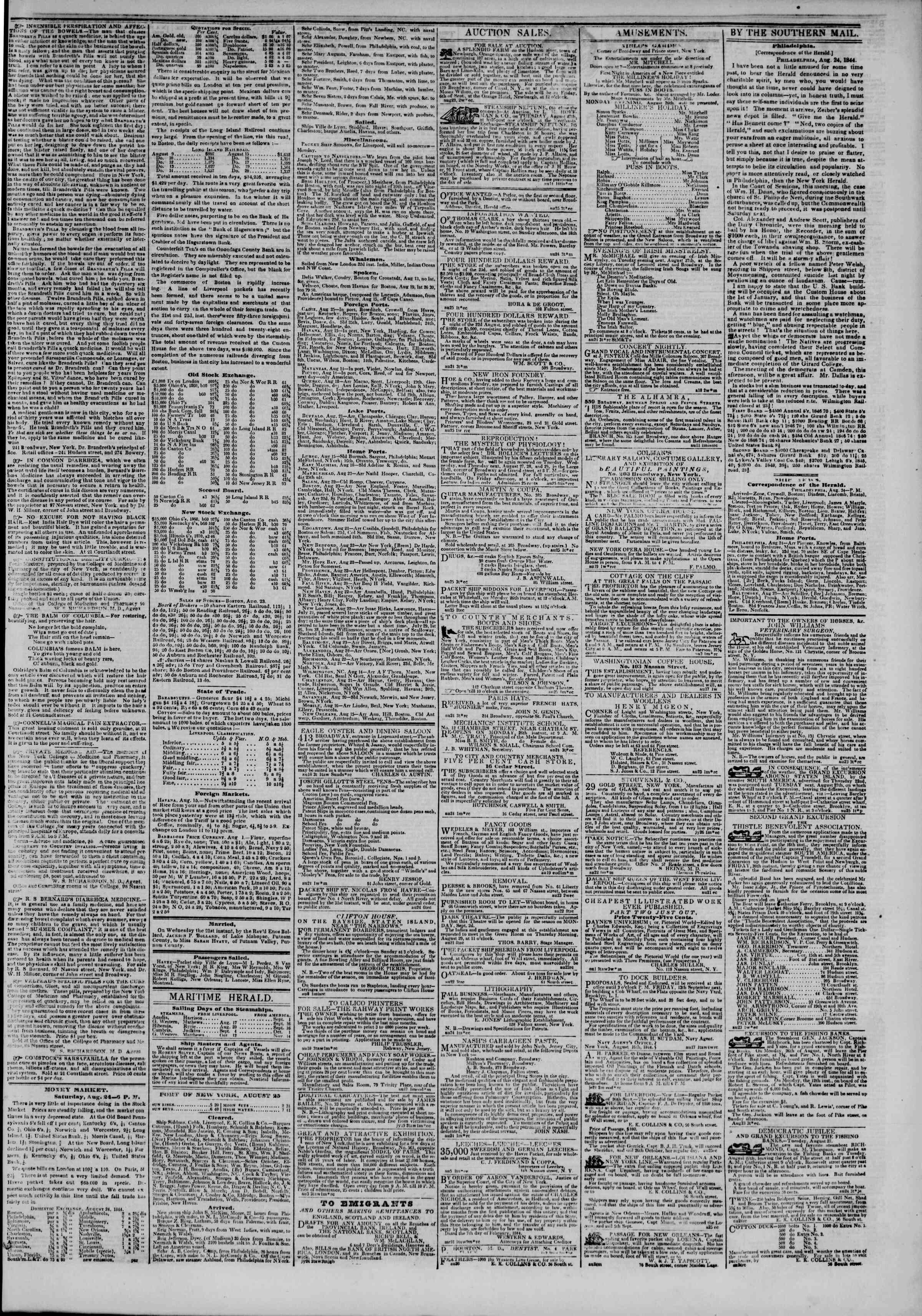 August 25, 1844 Tarihli The New York Herald Gazetesi Sayfa 3