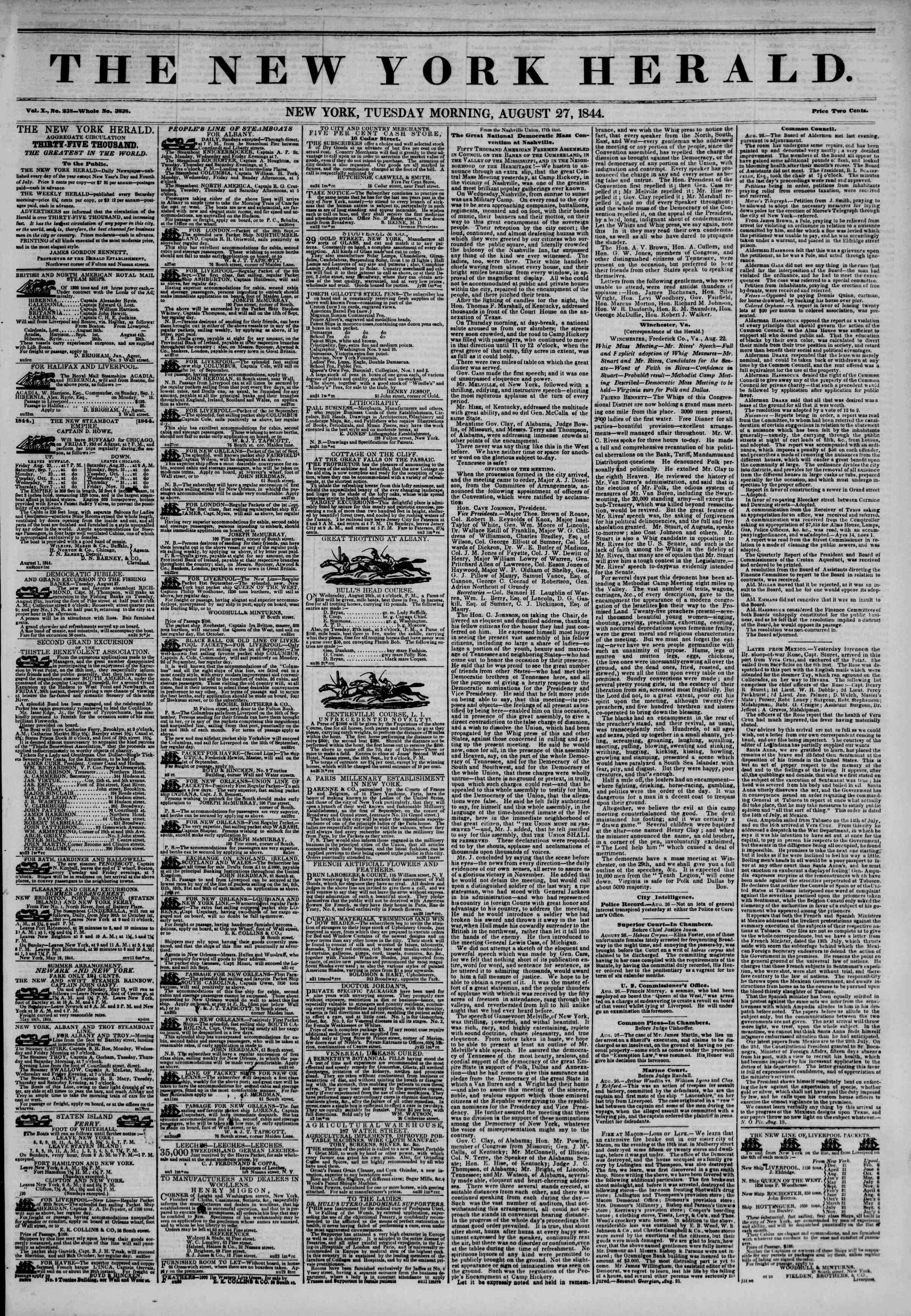 August 27, 1844 Tarihli The New York Herald Gazetesi Sayfa 1