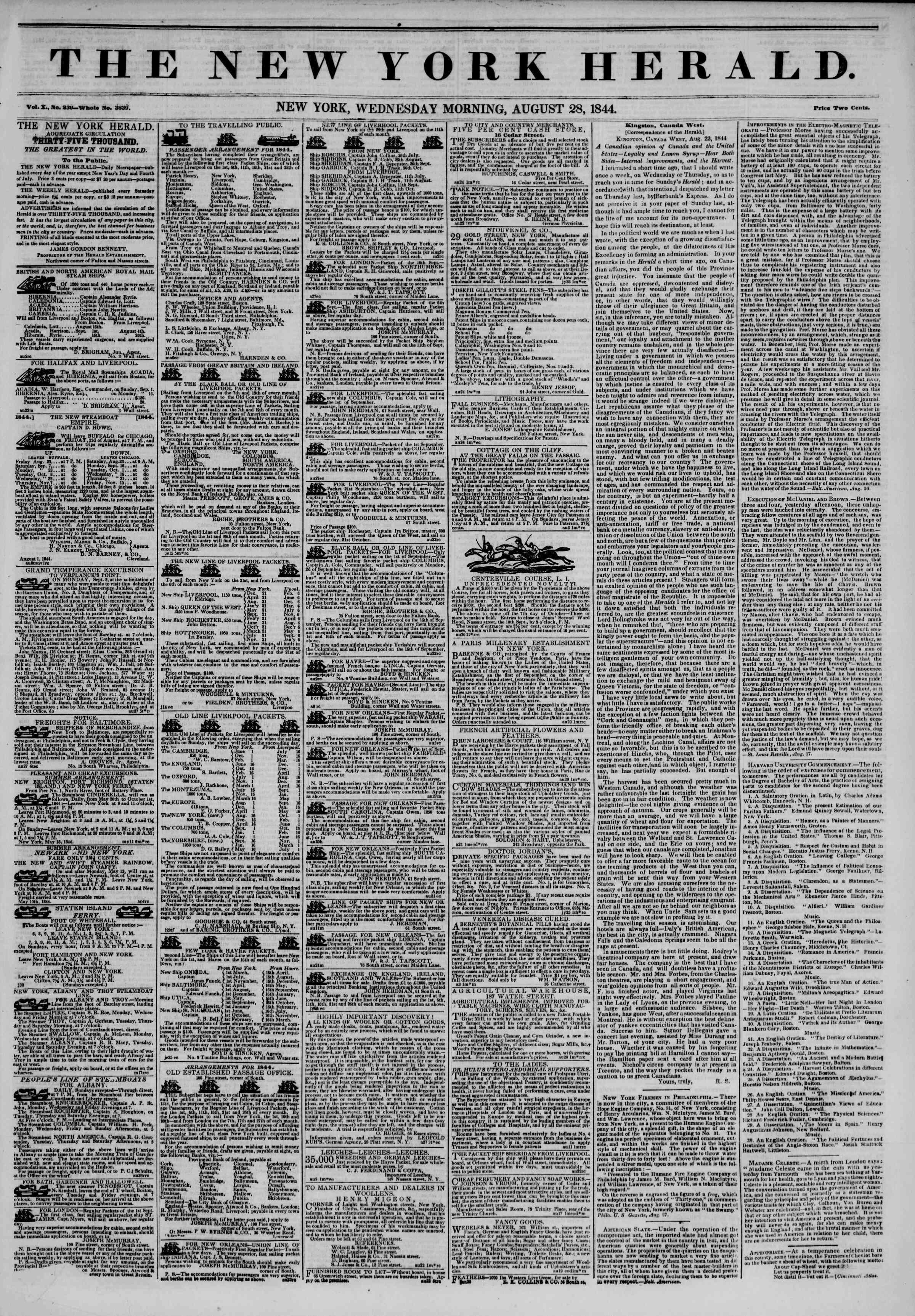 August 28, 1844 Tarihli The New York Herald Gazetesi Sayfa 1