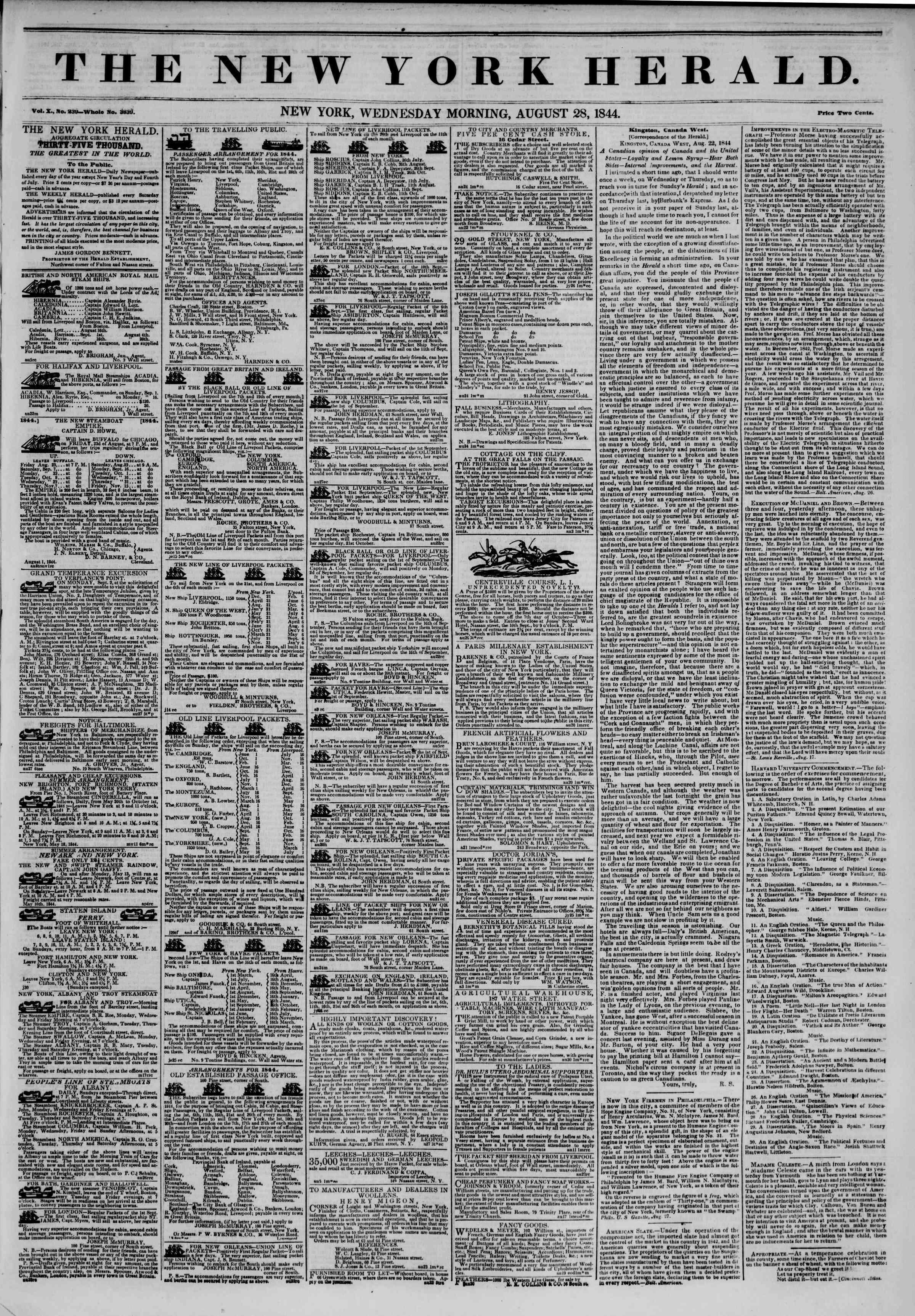 August 28, 1844 Tarihli The New York Herald Gazetesi Sayfa 2