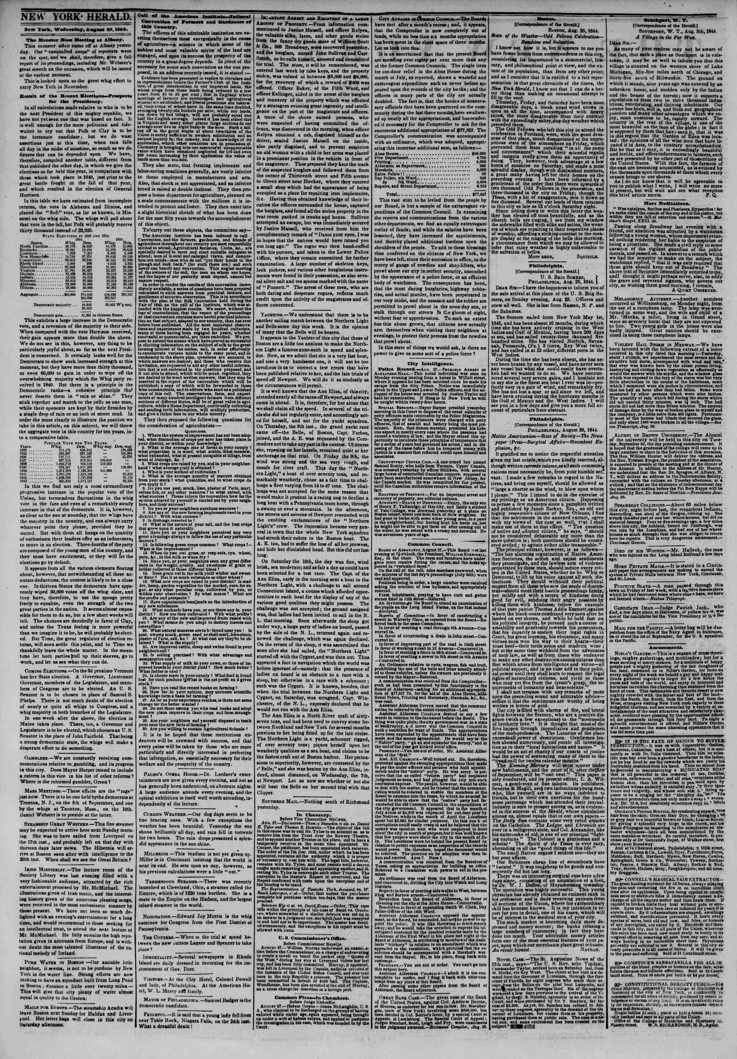 Newspaper of The New York Herald dated August 28, 1844 Page 3