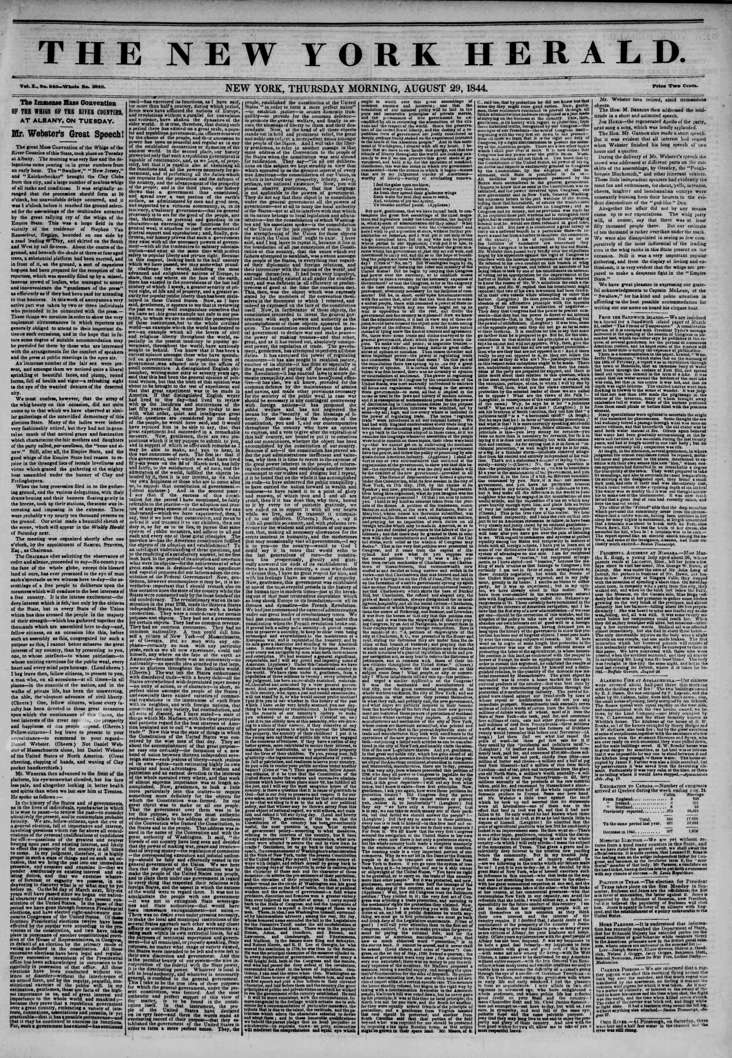 29 Ağustos 1844 Tarihli The New York Herald Gazetesi Sayfa 1