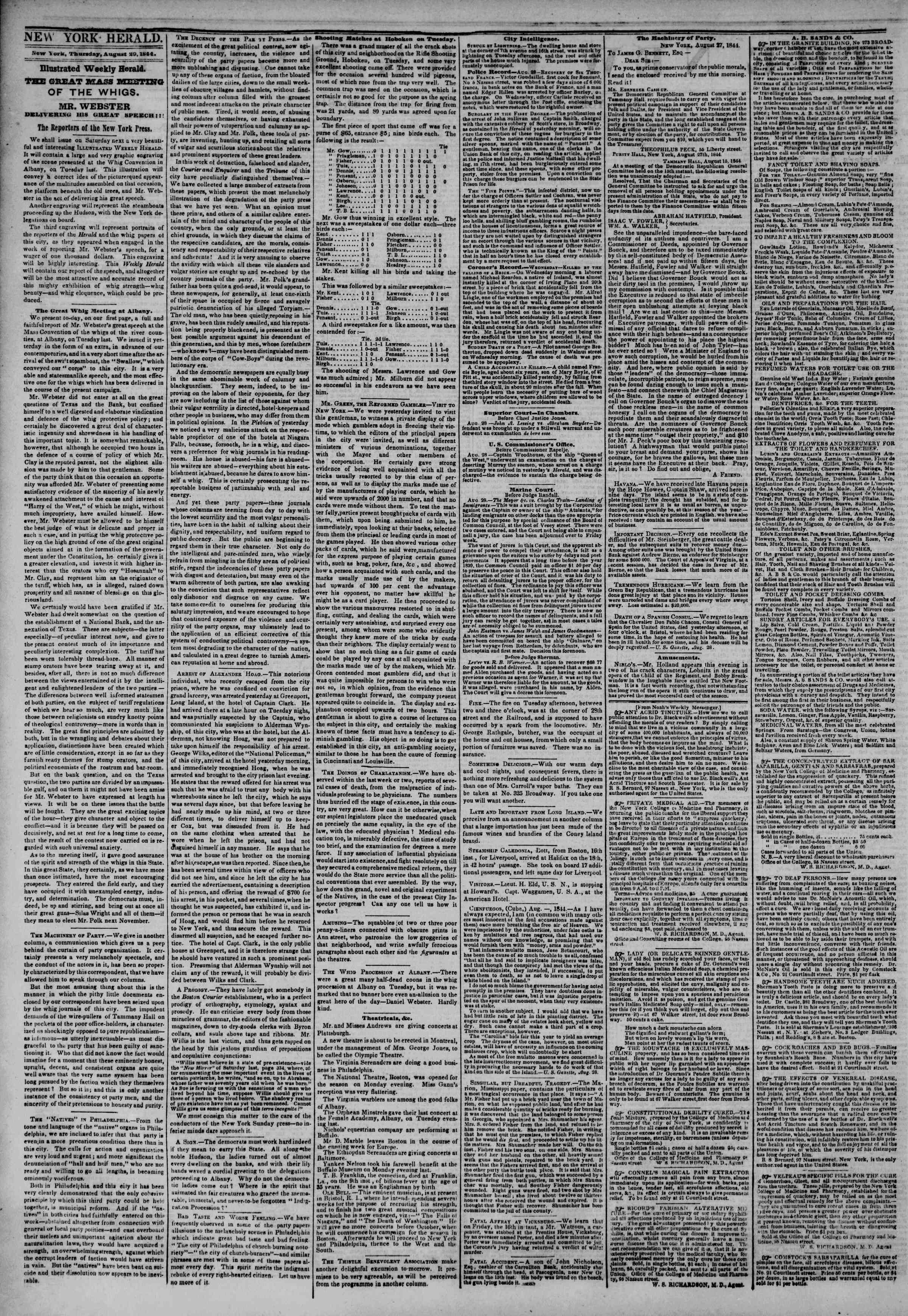 Newspaper of The New York Herald dated August 29, 1844 Page 2
