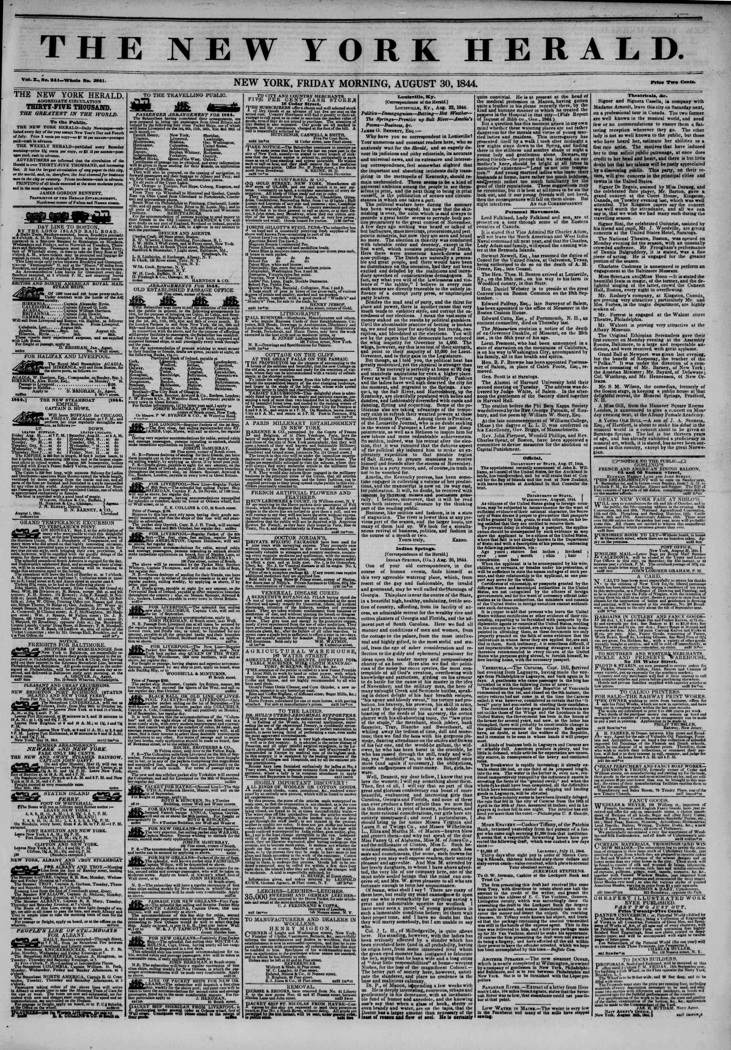 Newspaper of The New York Herald dated August 30, 1844 Page 1