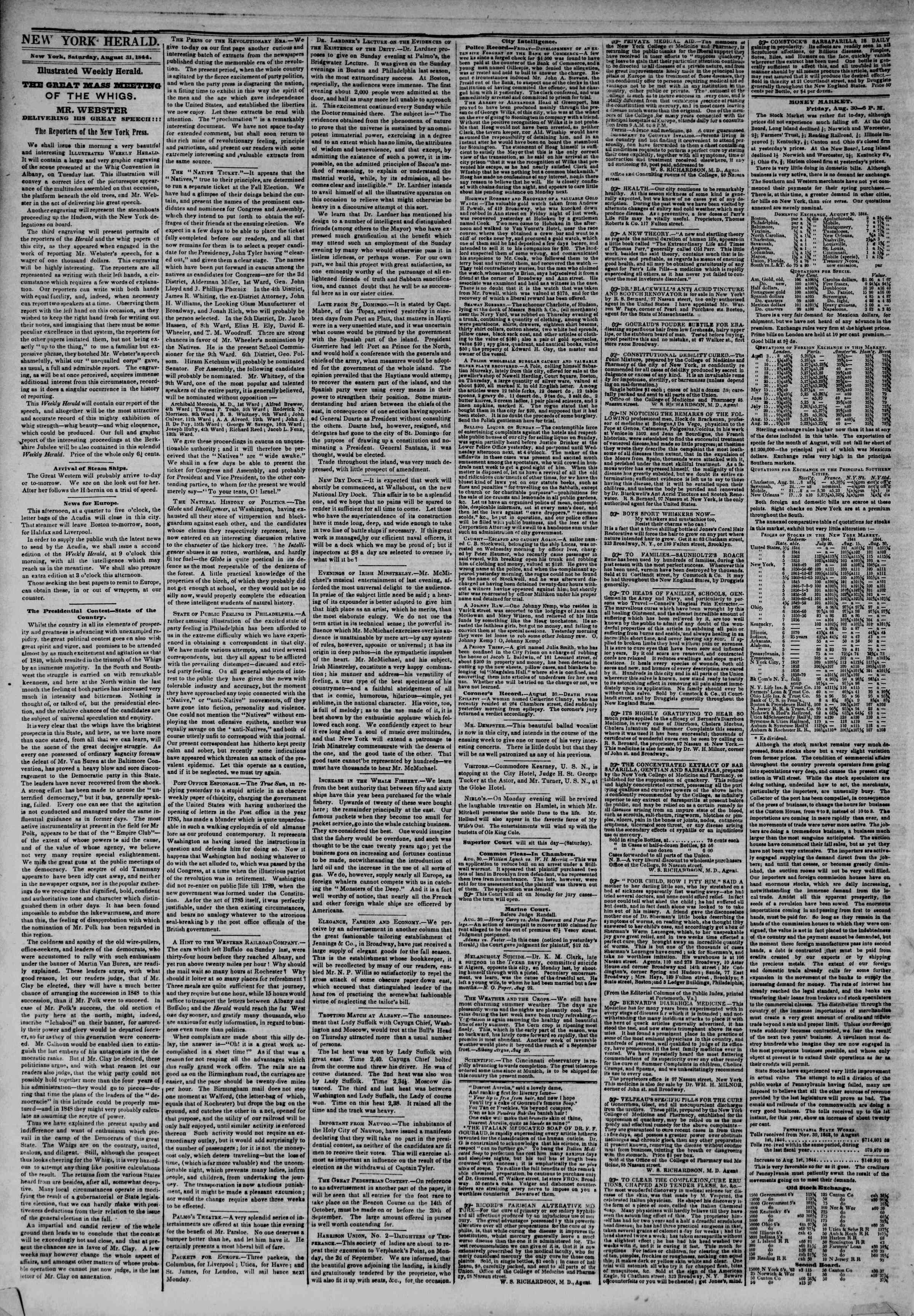 Newspaper of The New York Herald dated August 31, 1844 Page 2