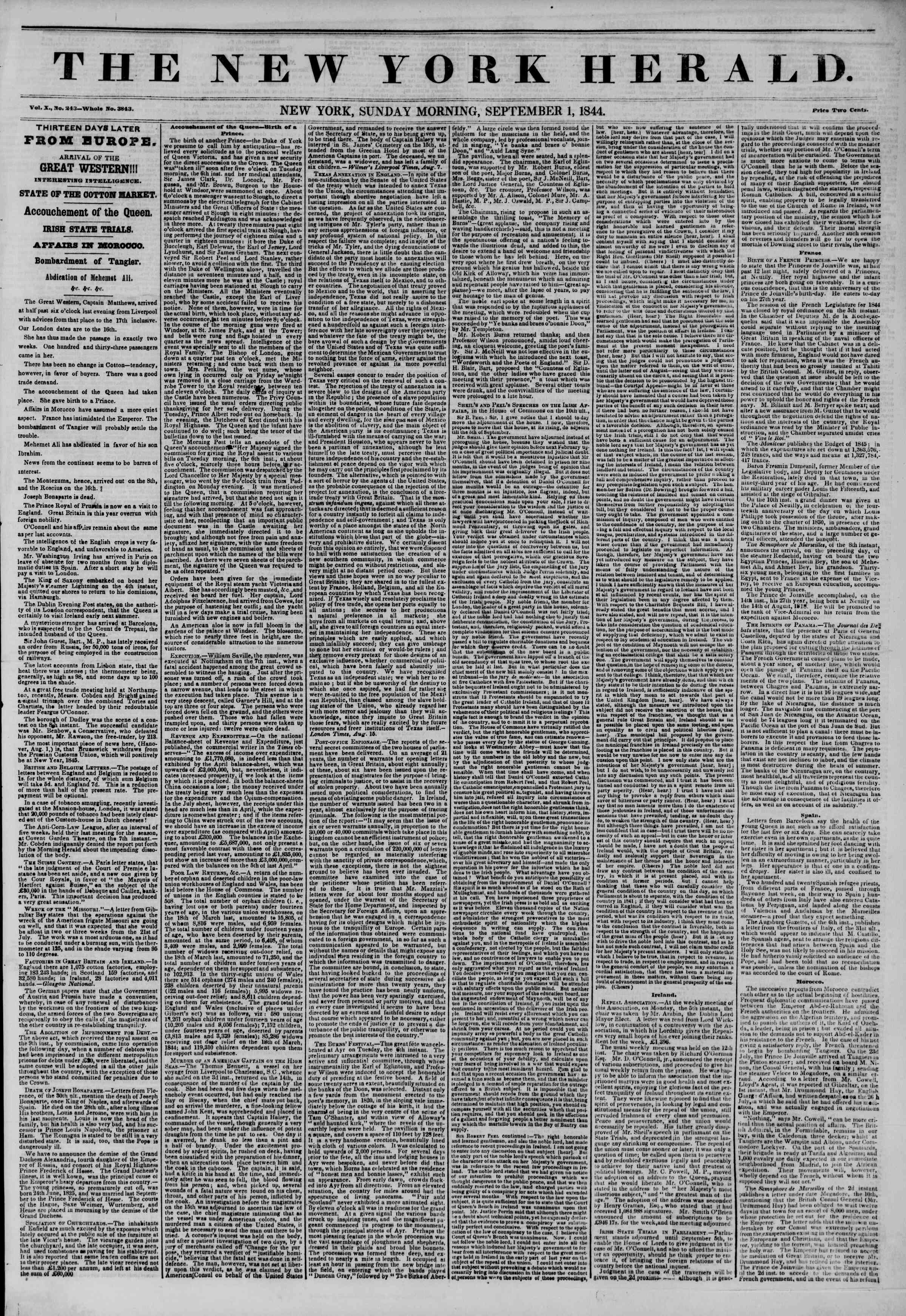 Newspaper of The New York Herald dated September 1, 1844 Page 1