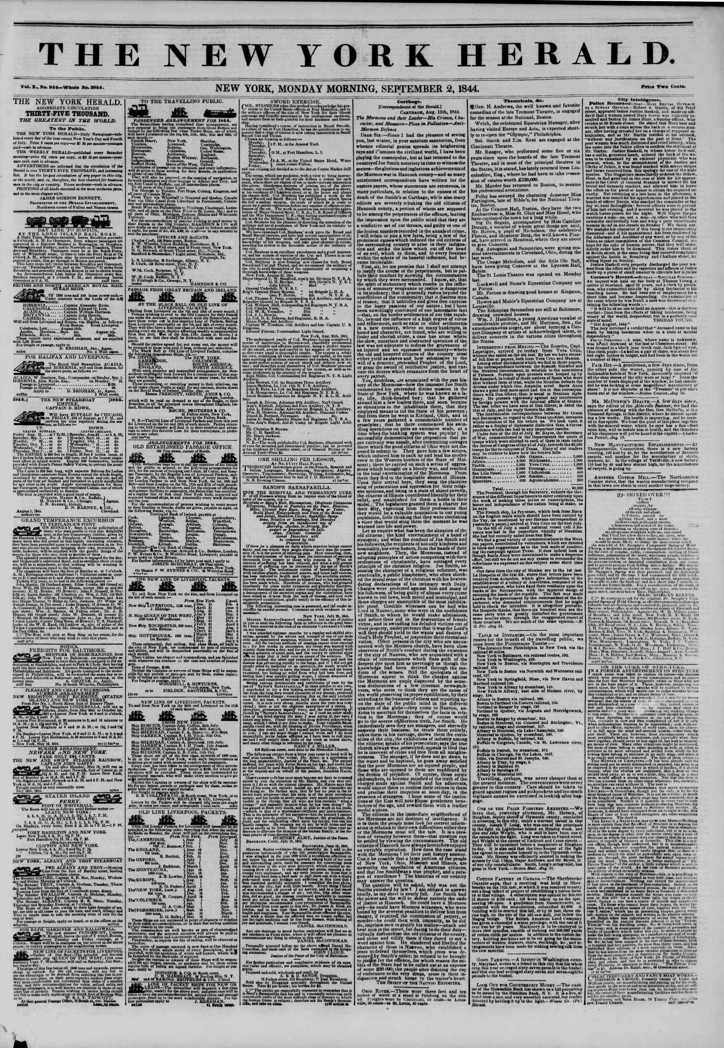 September 2, 1844 Tarihli The New York Herald Gazetesi Sayfa 1