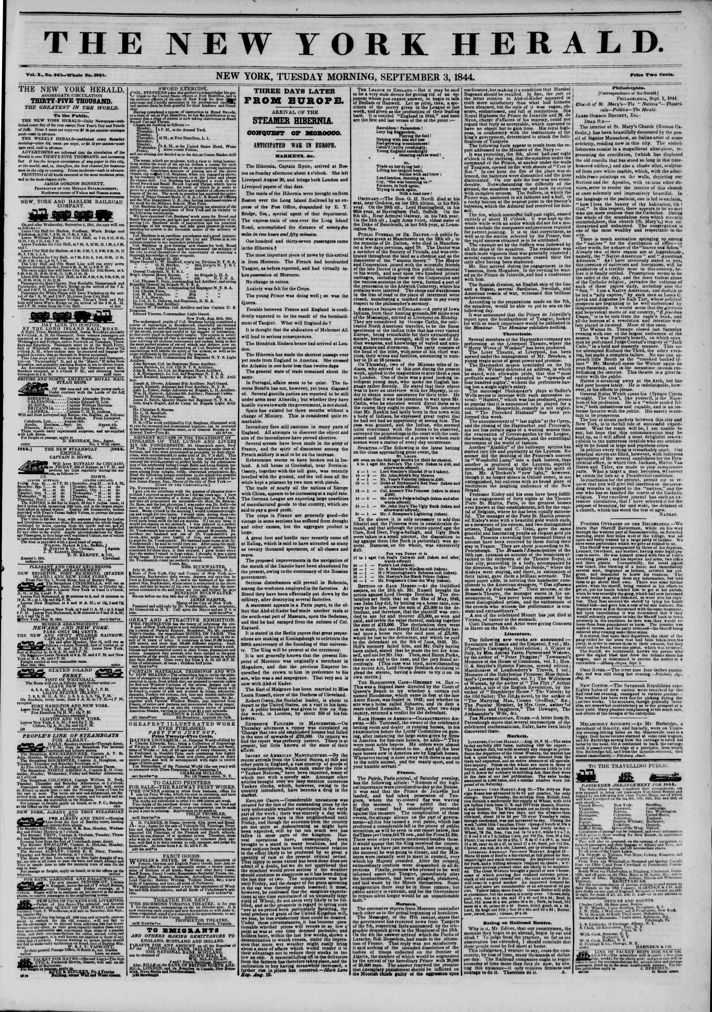 September 3, 1844 Tarihli The New York Herald Gazetesi Sayfa 1