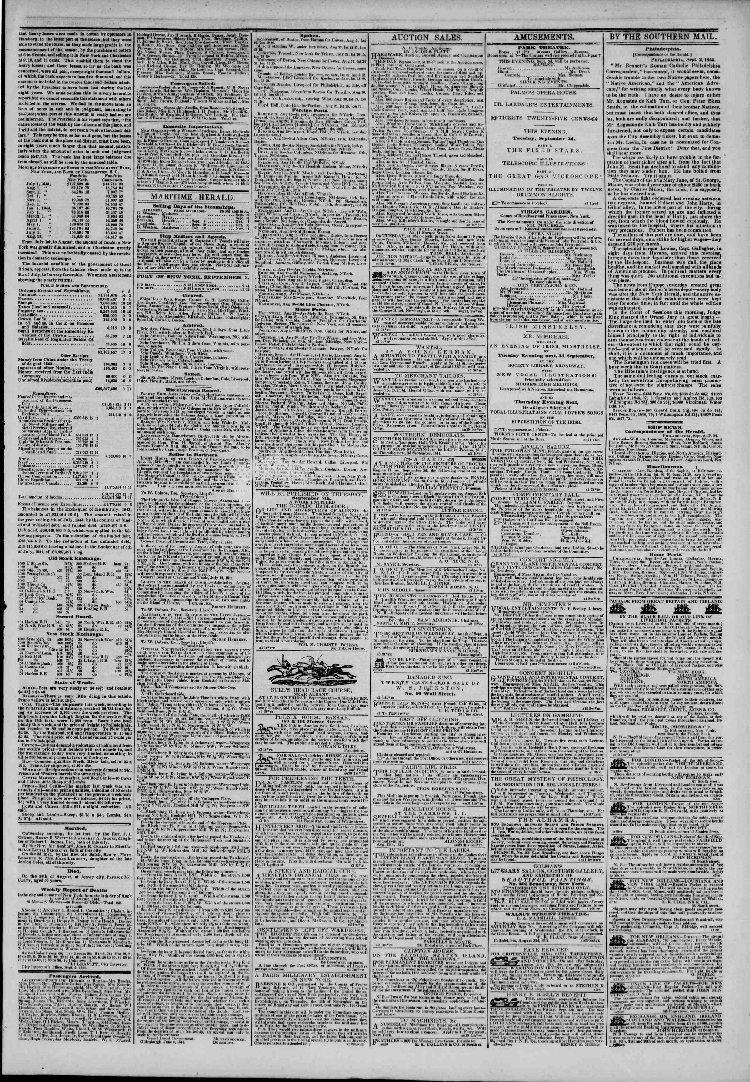 September 3, 1844 Tarihli The New York Herald Gazetesi Sayfa 3