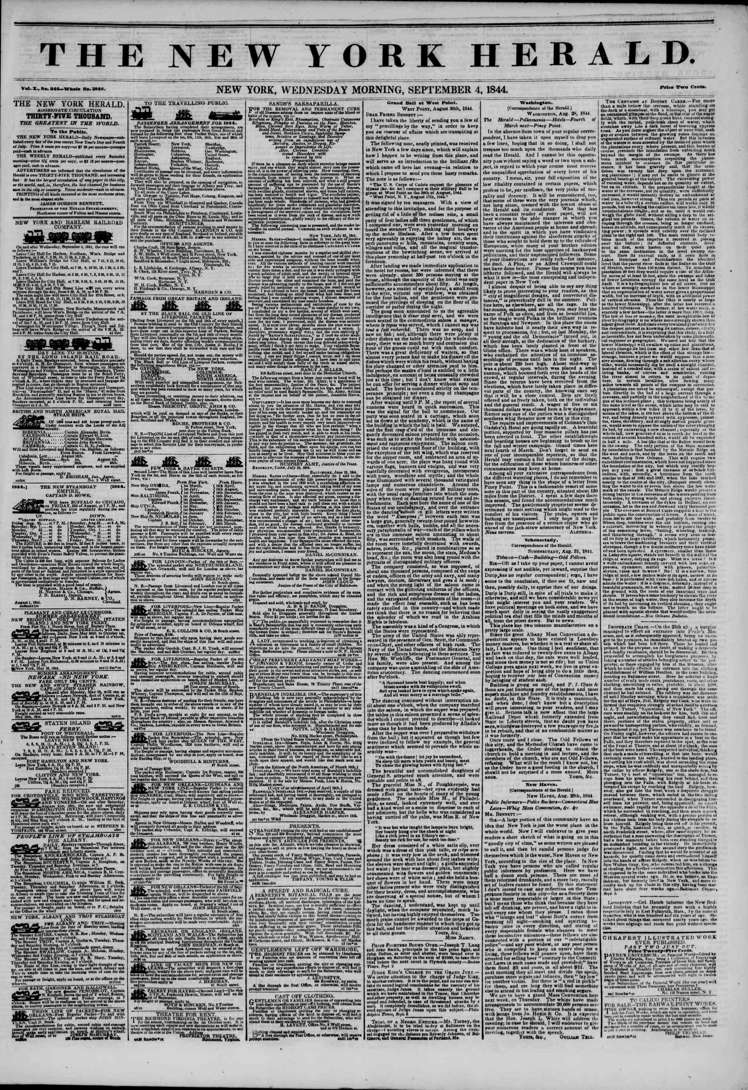 September 4, 1844 Tarihli The New York Herald Gazetesi Sayfa 1