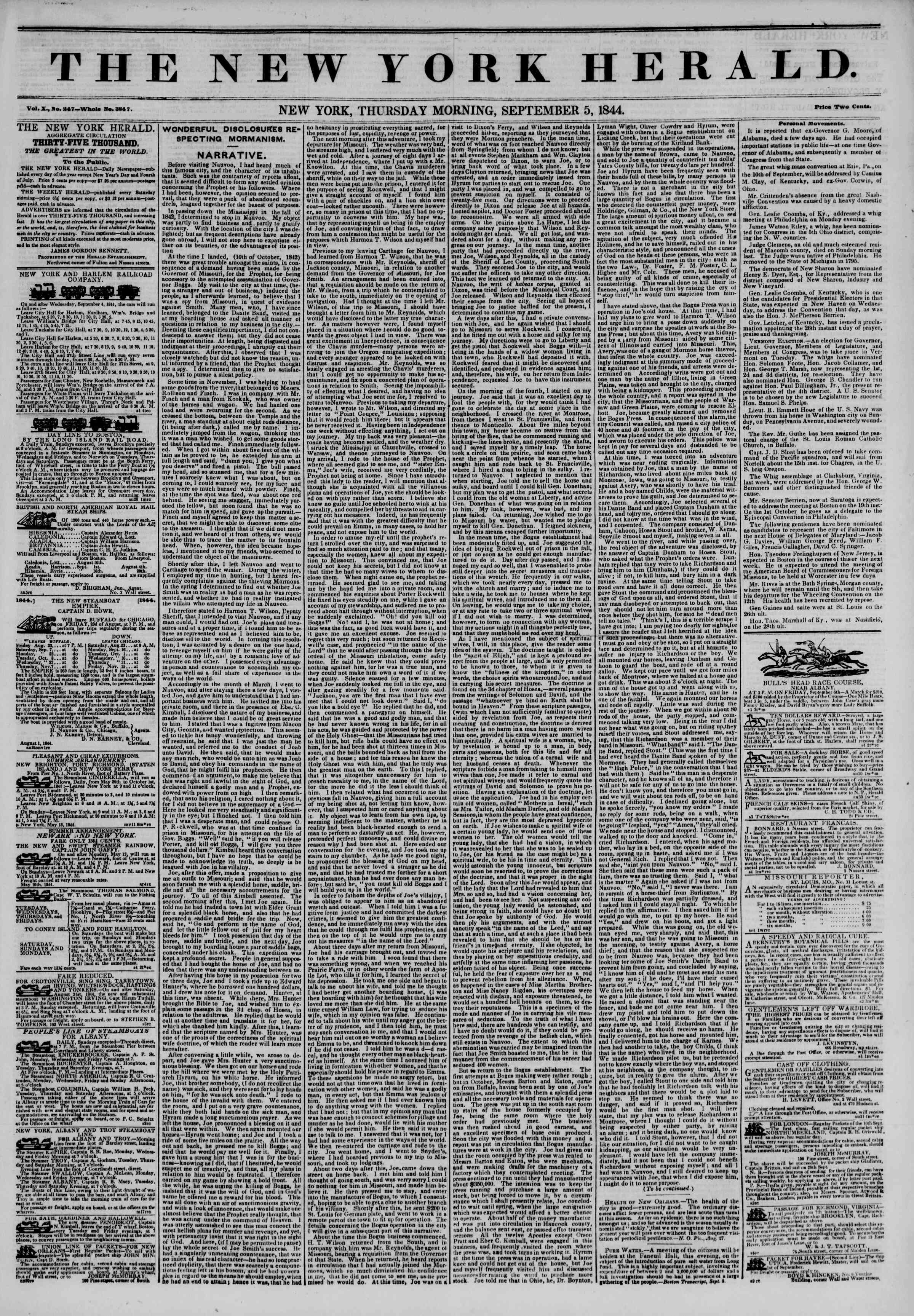 5 Eylül 1844 tarihli The New York Herald Gazetesi Sayfa 1
