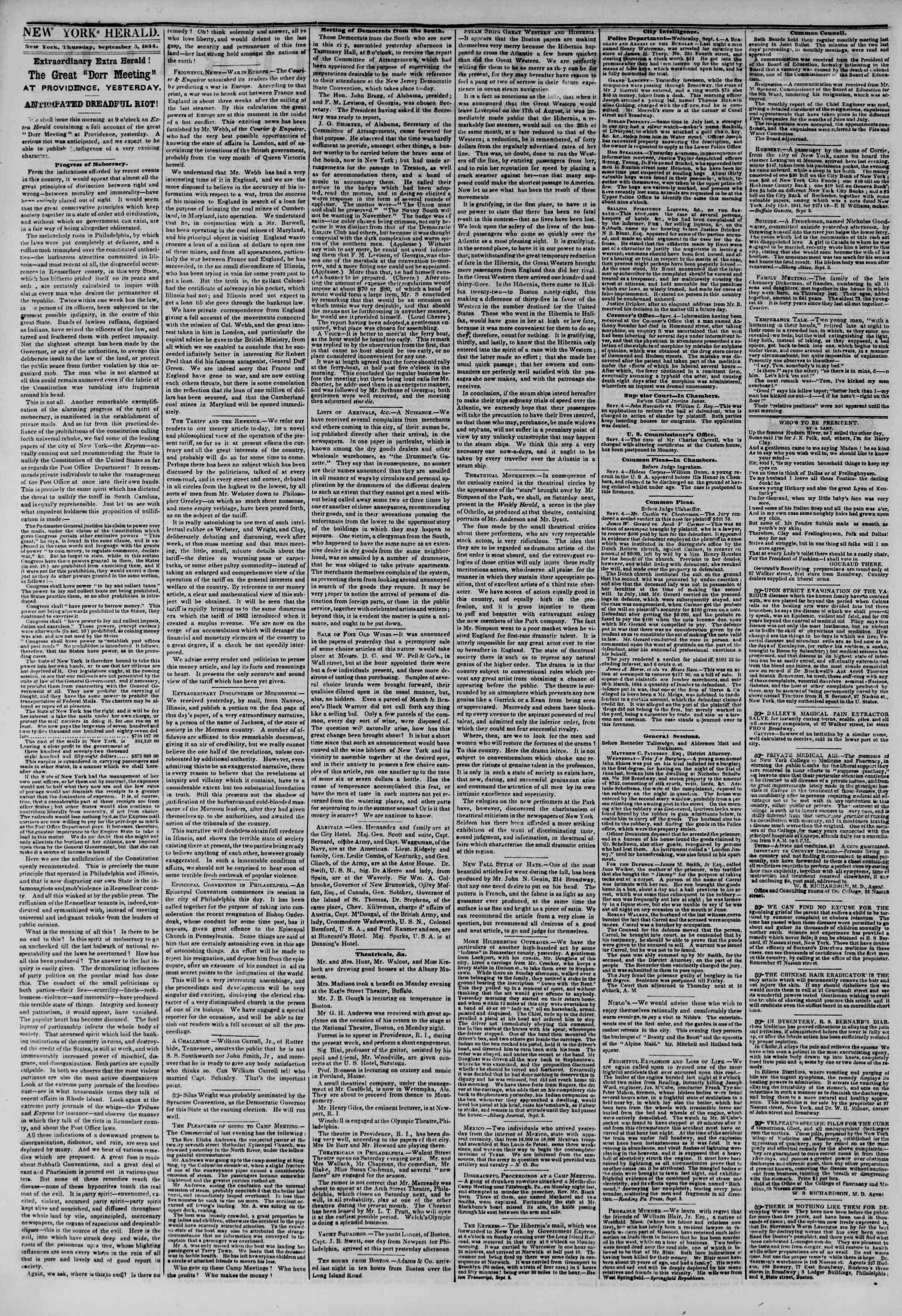 September 5, 1844 Tarihli The New York Herald Gazetesi Sayfa 2
