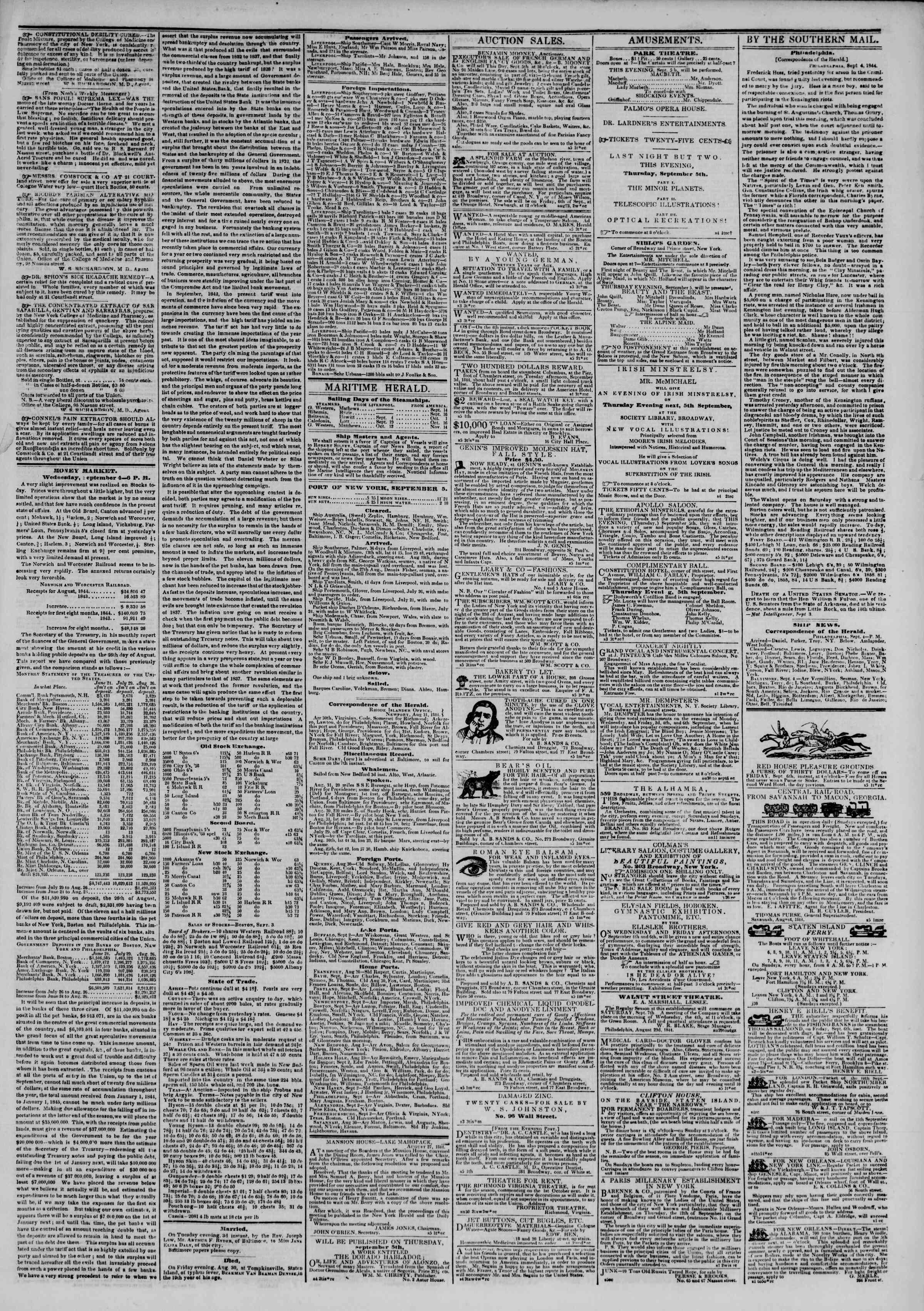 September 5, 1844 Tarihli The New York Herald Gazetesi Sayfa 3