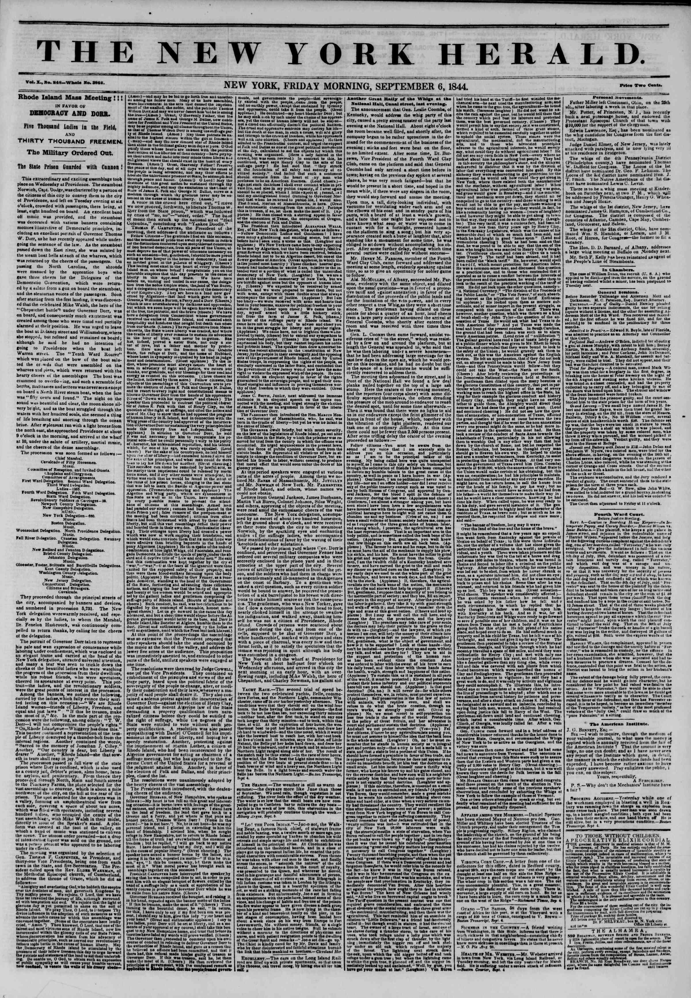 September 6, 1844 Tarihli The New York Herald Gazetesi Sayfa 1