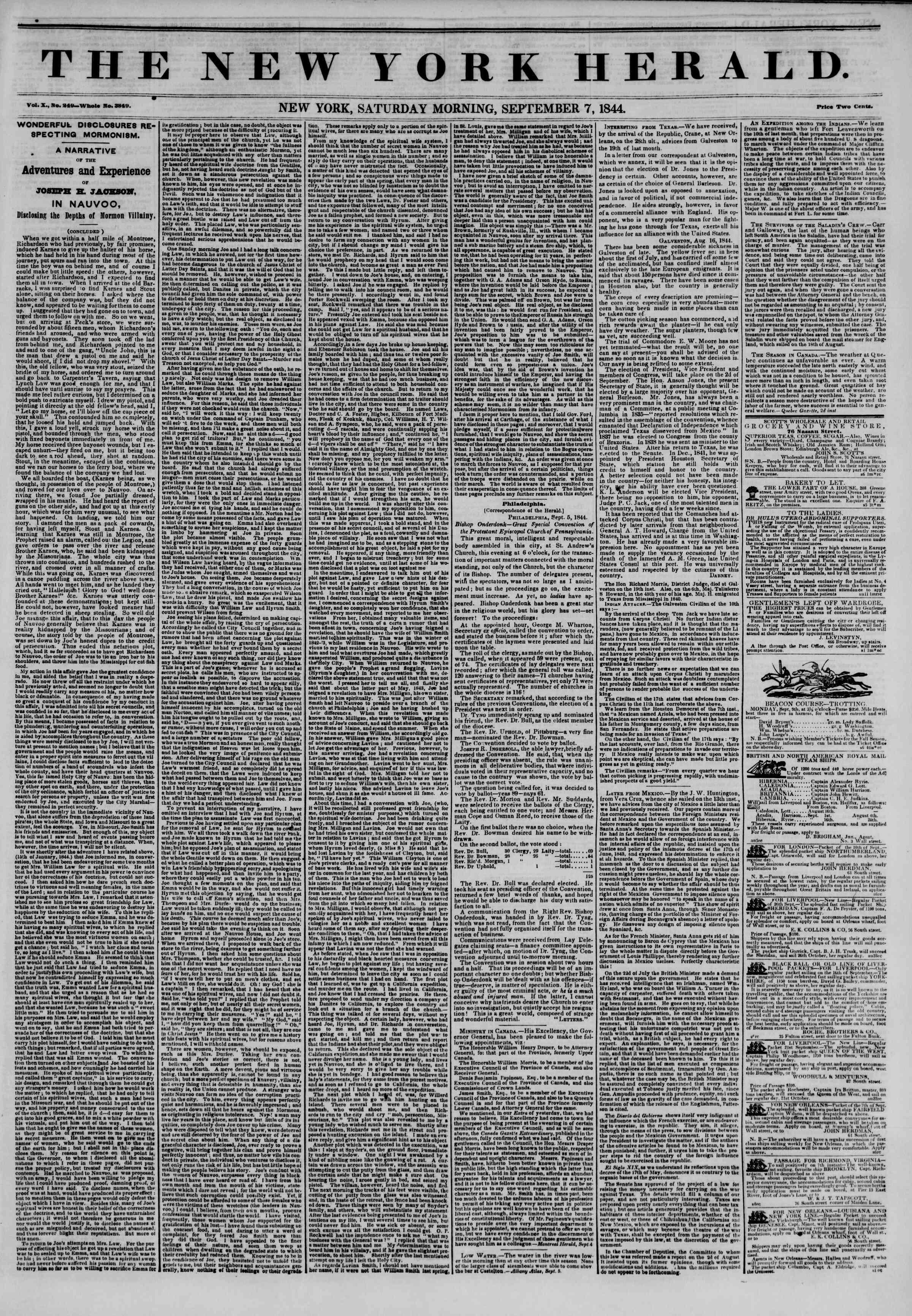 September 7, 1844 Tarihli The New York Herald Gazetesi Sayfa 1