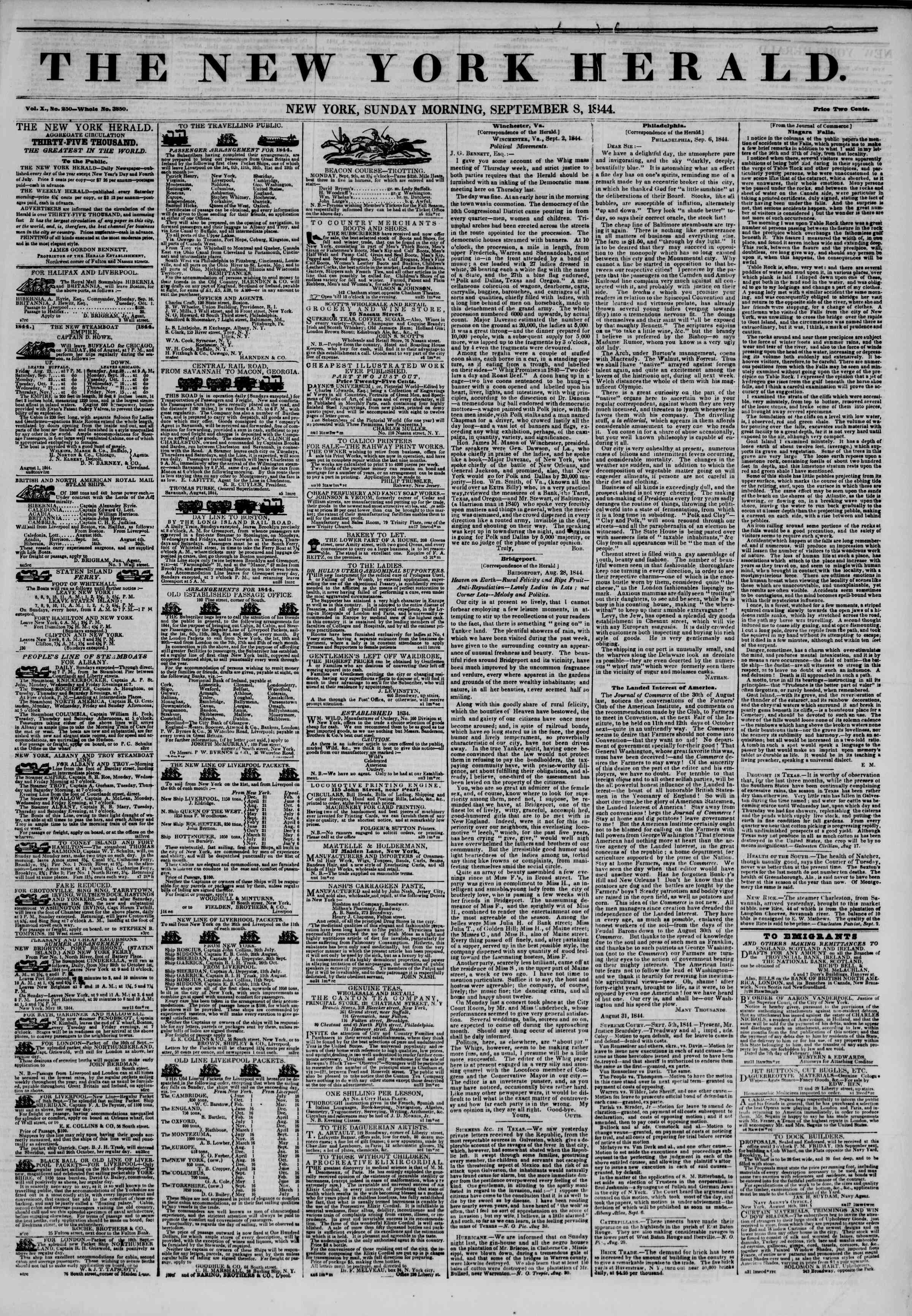 Newspaper of The New York Herald dated September 8, 1844 Page 1