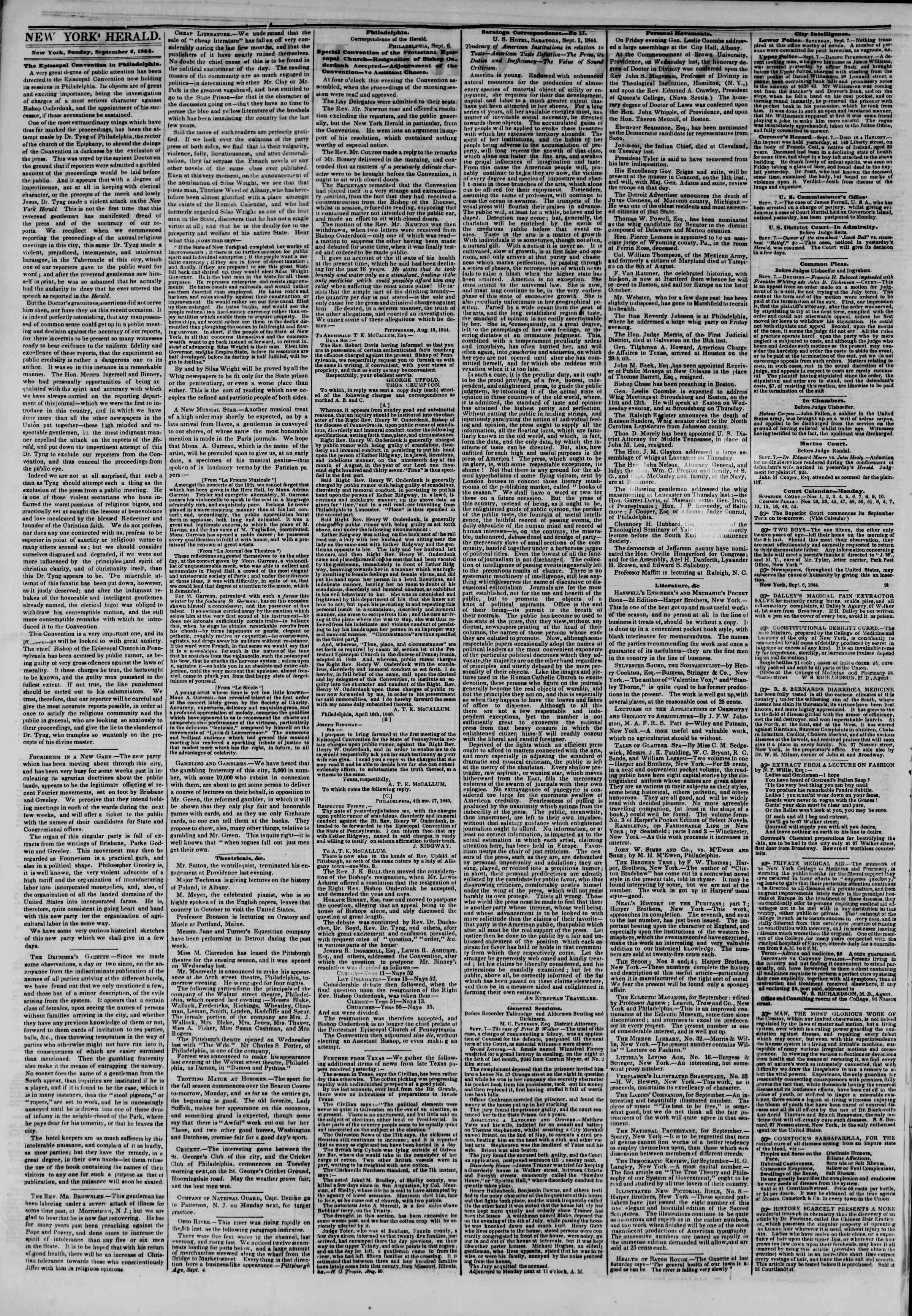 September 8, 1844 Tarihli The New York Herald Gazetesi Sayfa 2