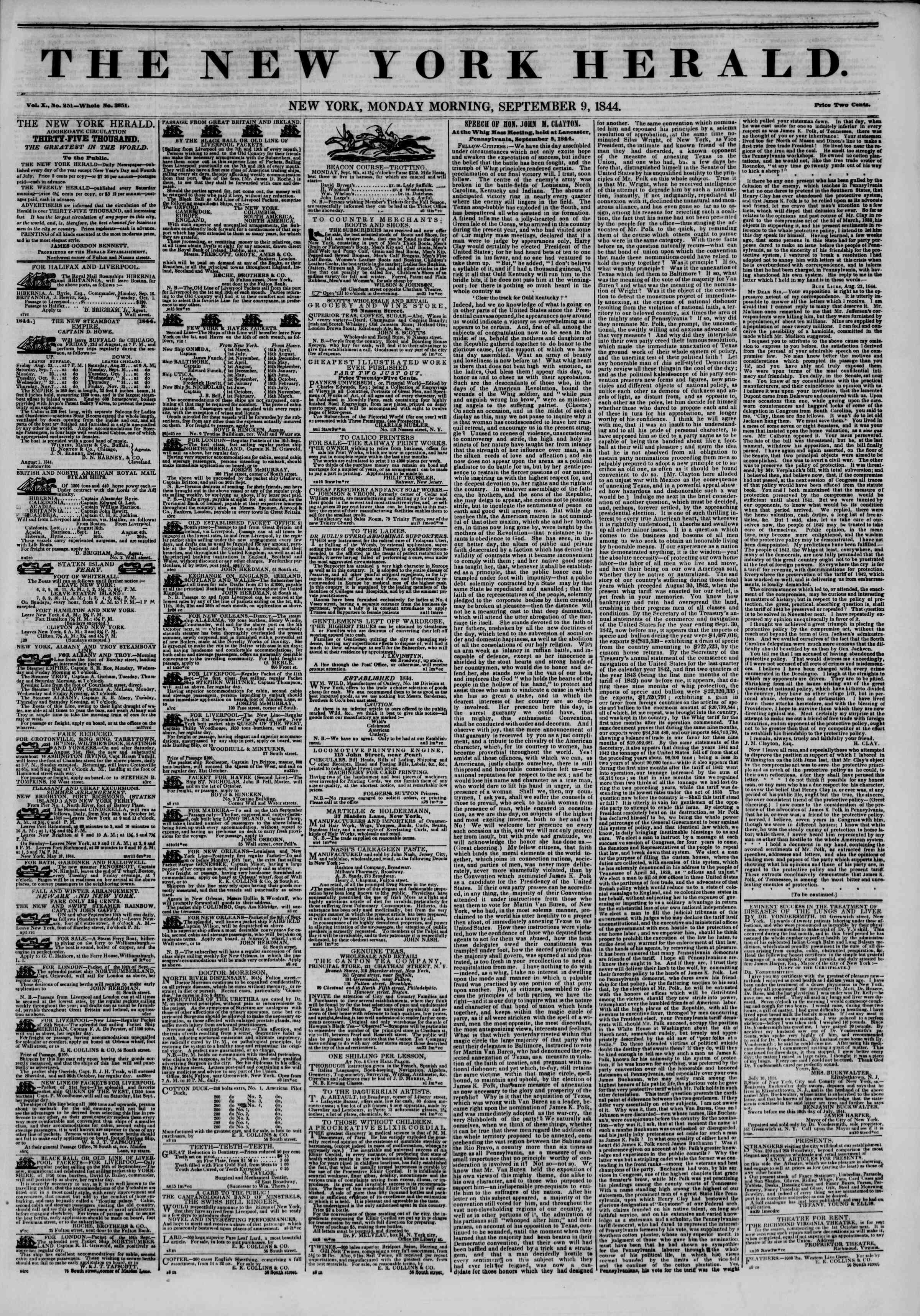 September 9, 1844 Tarihli The New York Herald Gazetesi Sayfa 1
