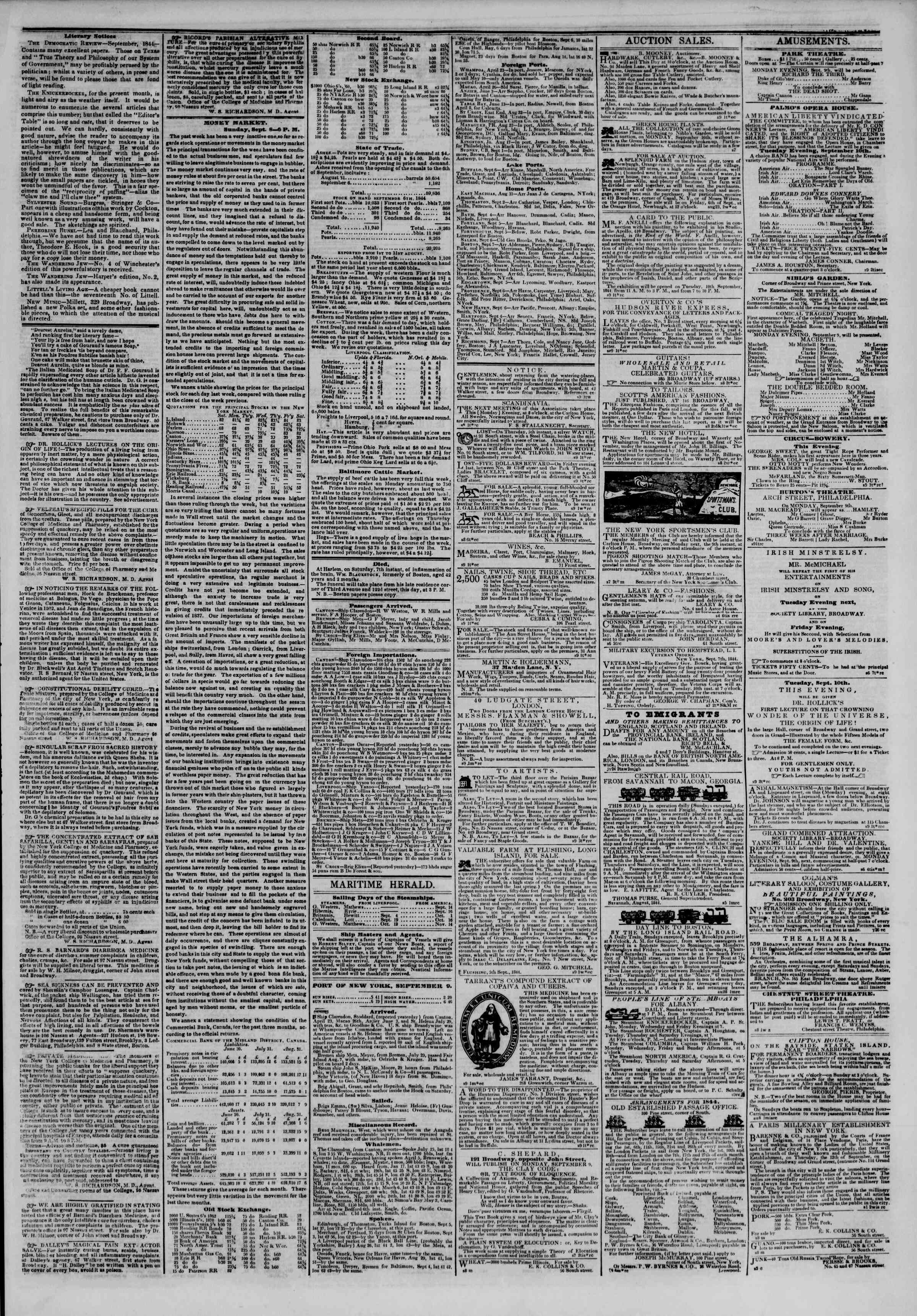 Newspaper of The New York Herald dated September 9, 1844 Page 3