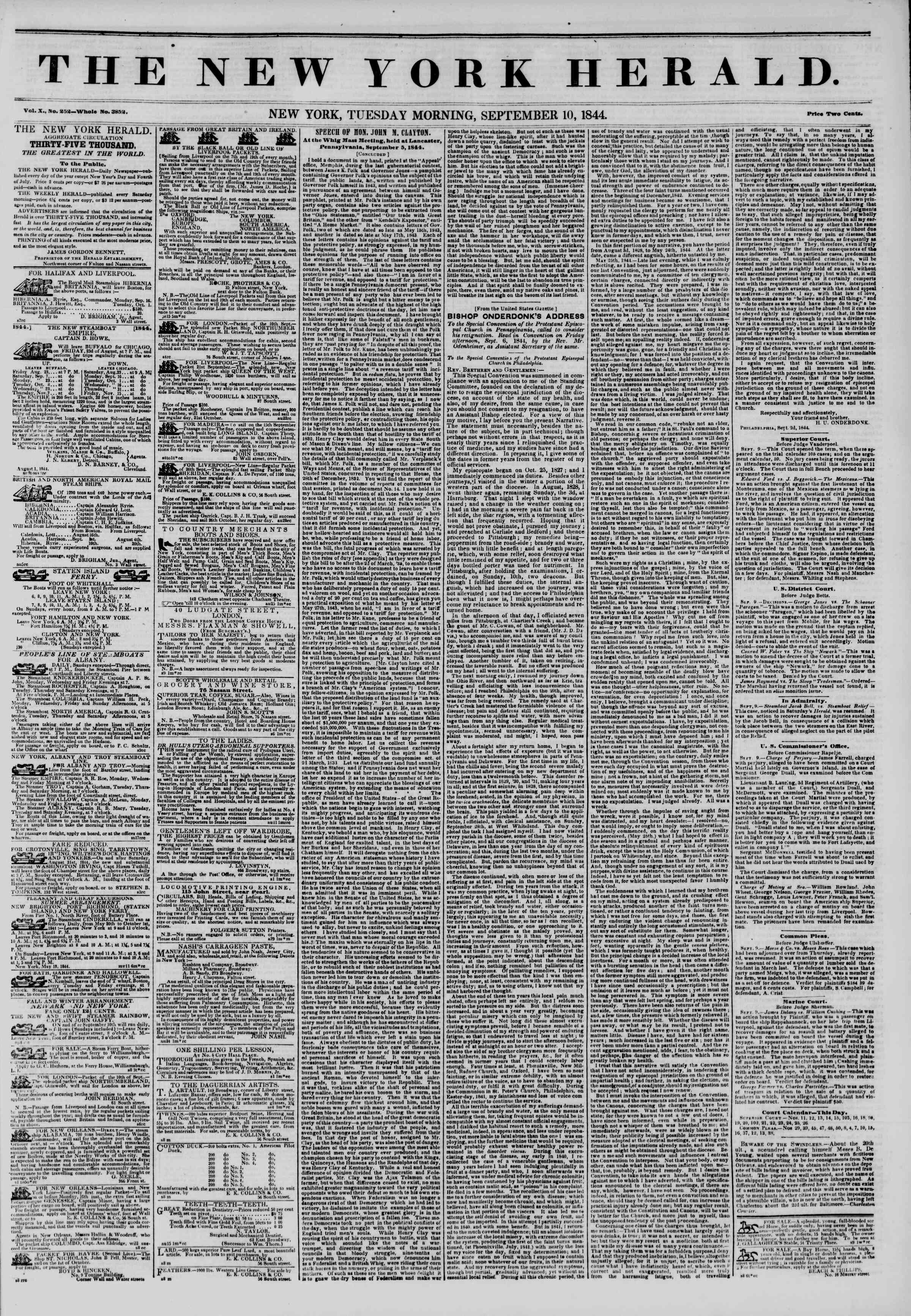 Newspaper of The New York Herald dated September 10, 1844 Page 1