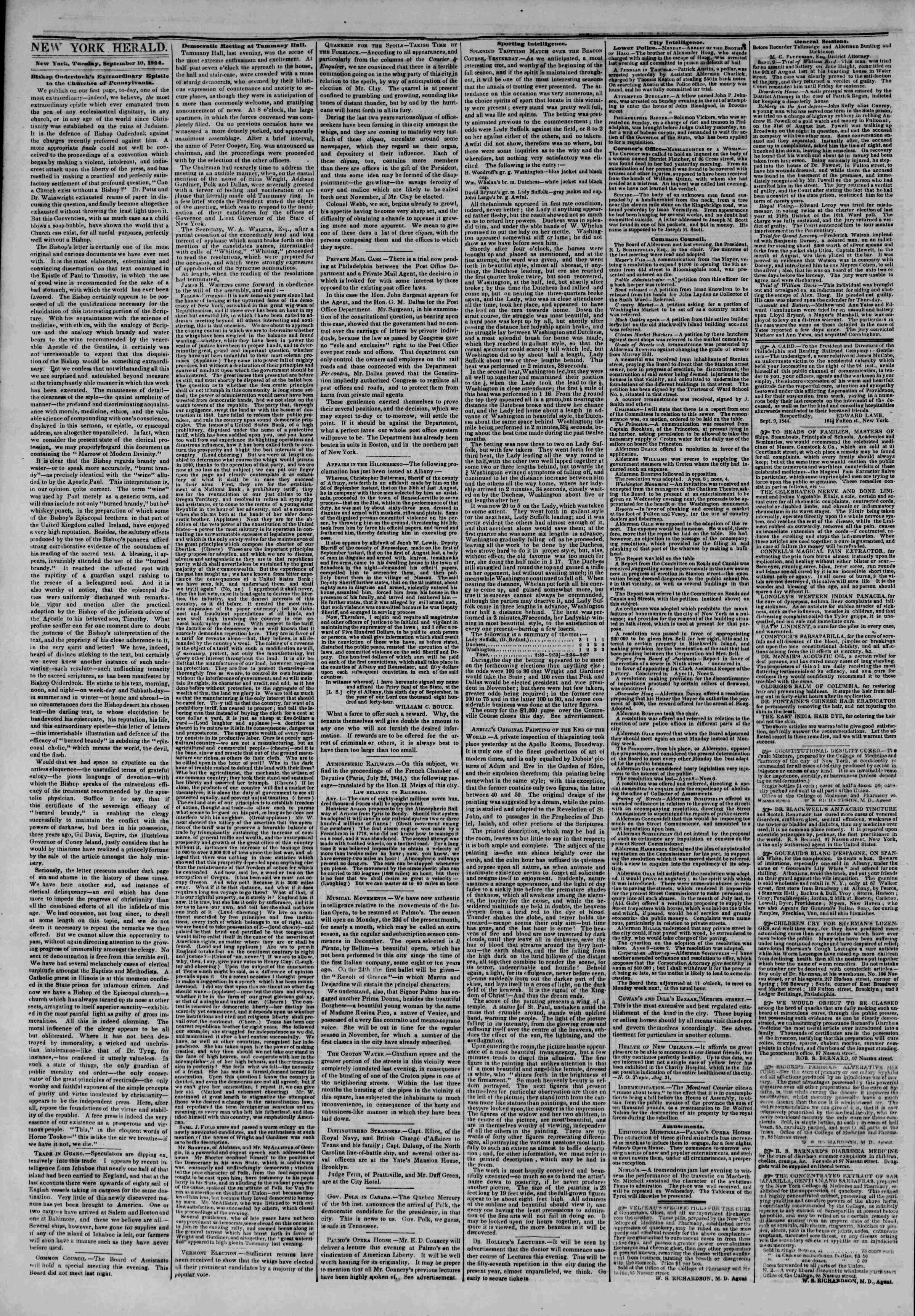 September 10, 1844 Tarihli The New York Herald Gazetesi Sayfa 2