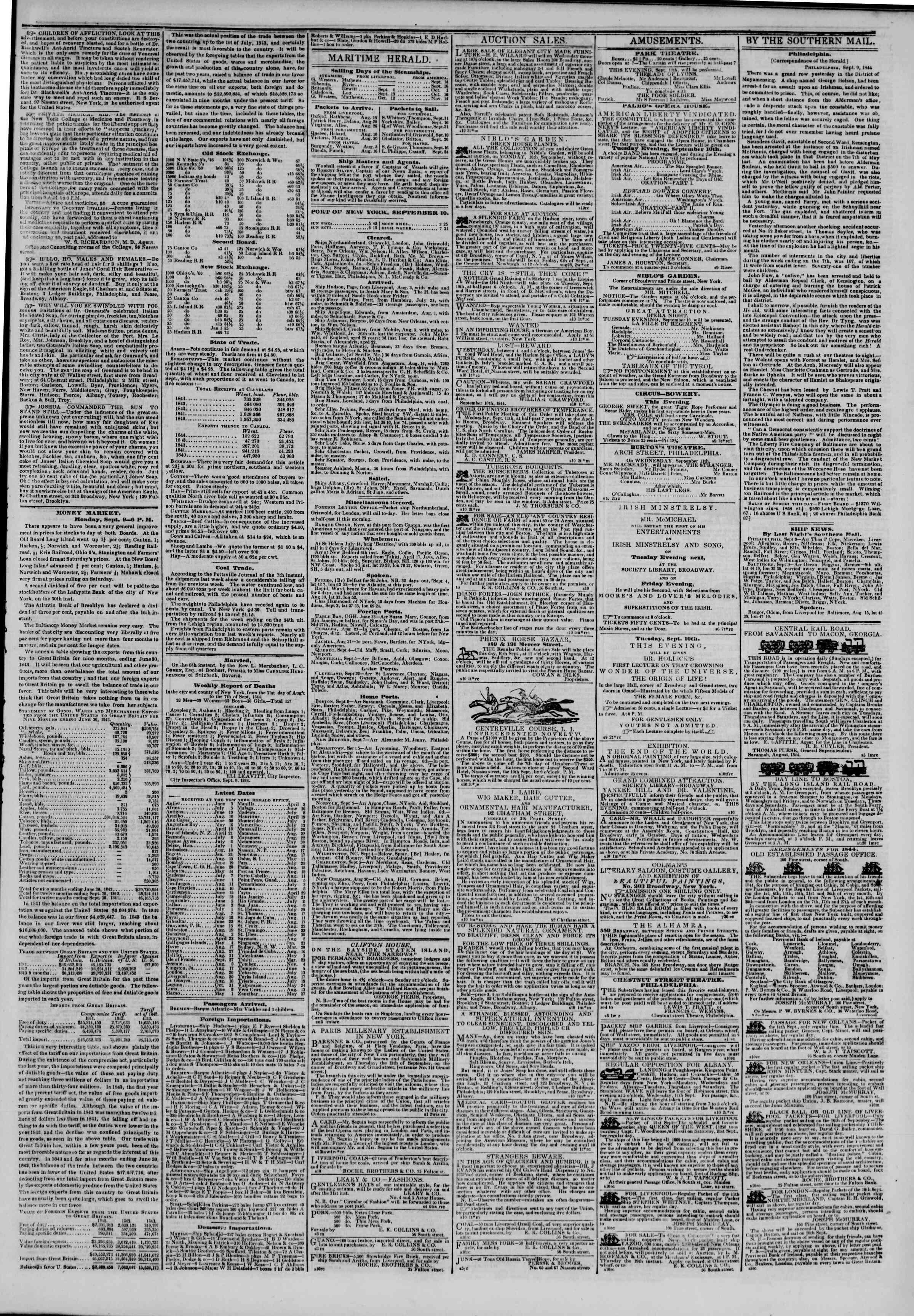 September 10, 1844 Tarihli The New York Herald Gazetesi Sayfa 3
