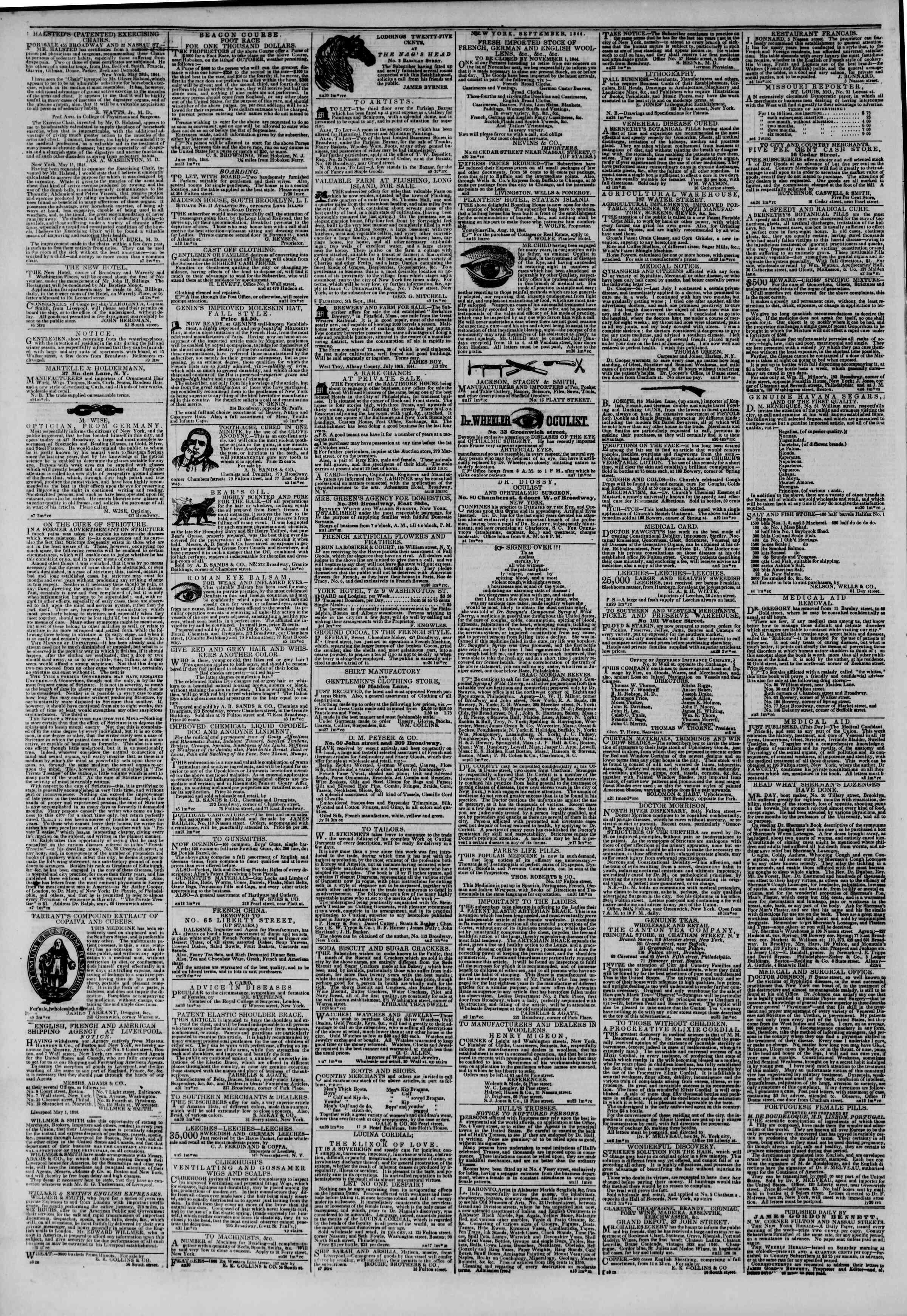 September 10, 1844 Tarihli The New York Herald Gazetesi Sayfa 4