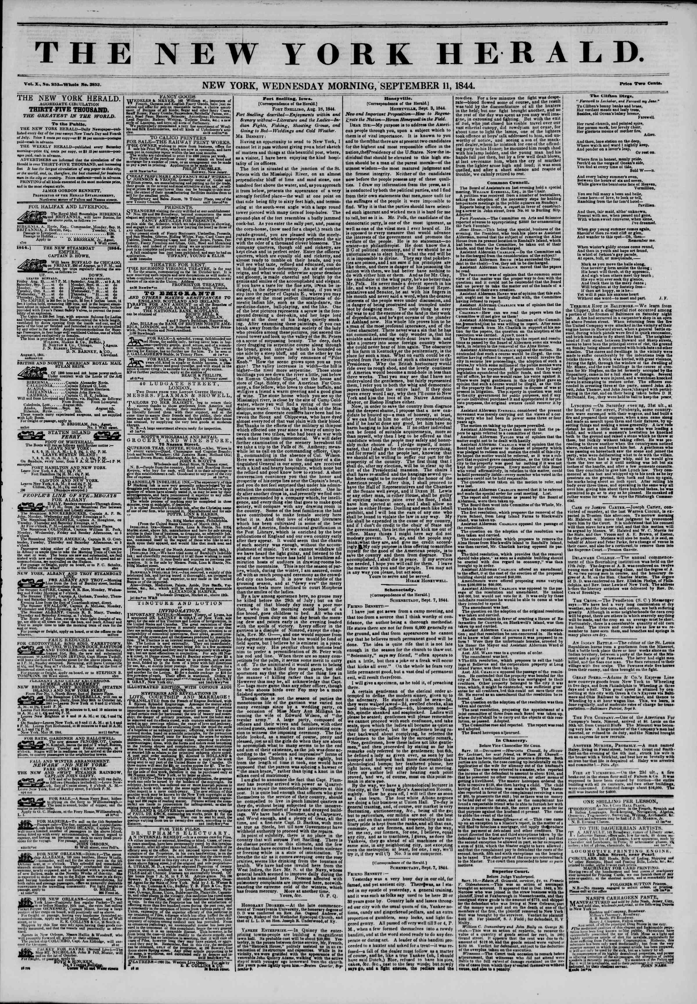 September 11, 1844 Tarihli The New York Herald Gazetesi Sayfa 1
