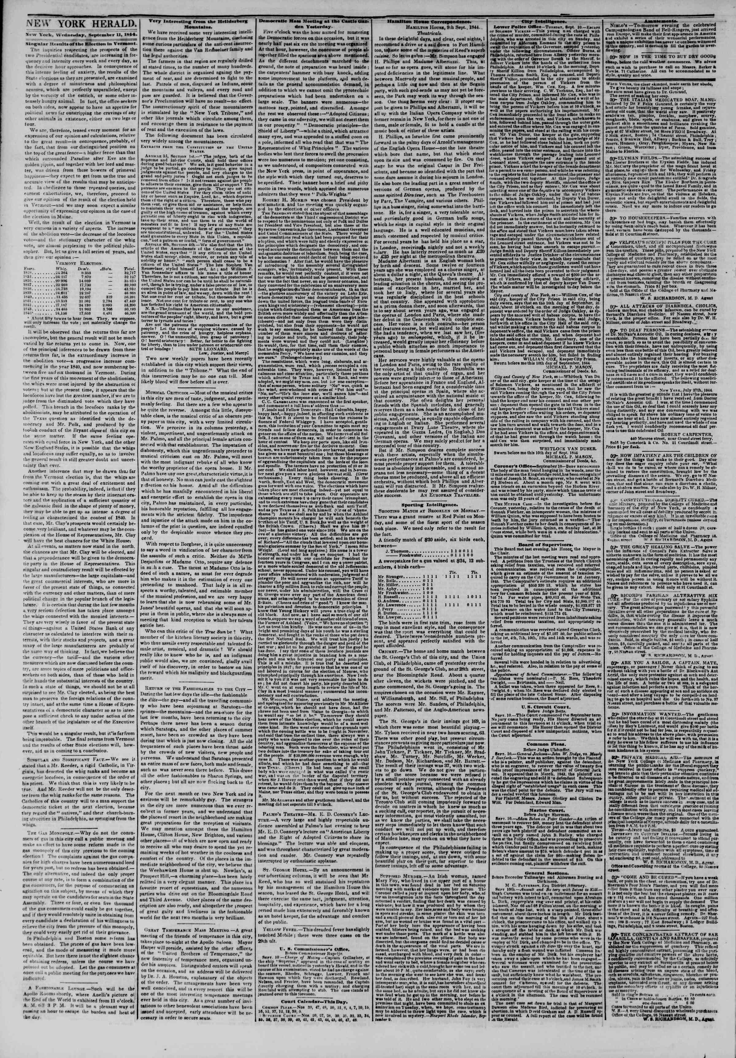 Newspaper of The New York Herald dated September 11, 1844 Page 2