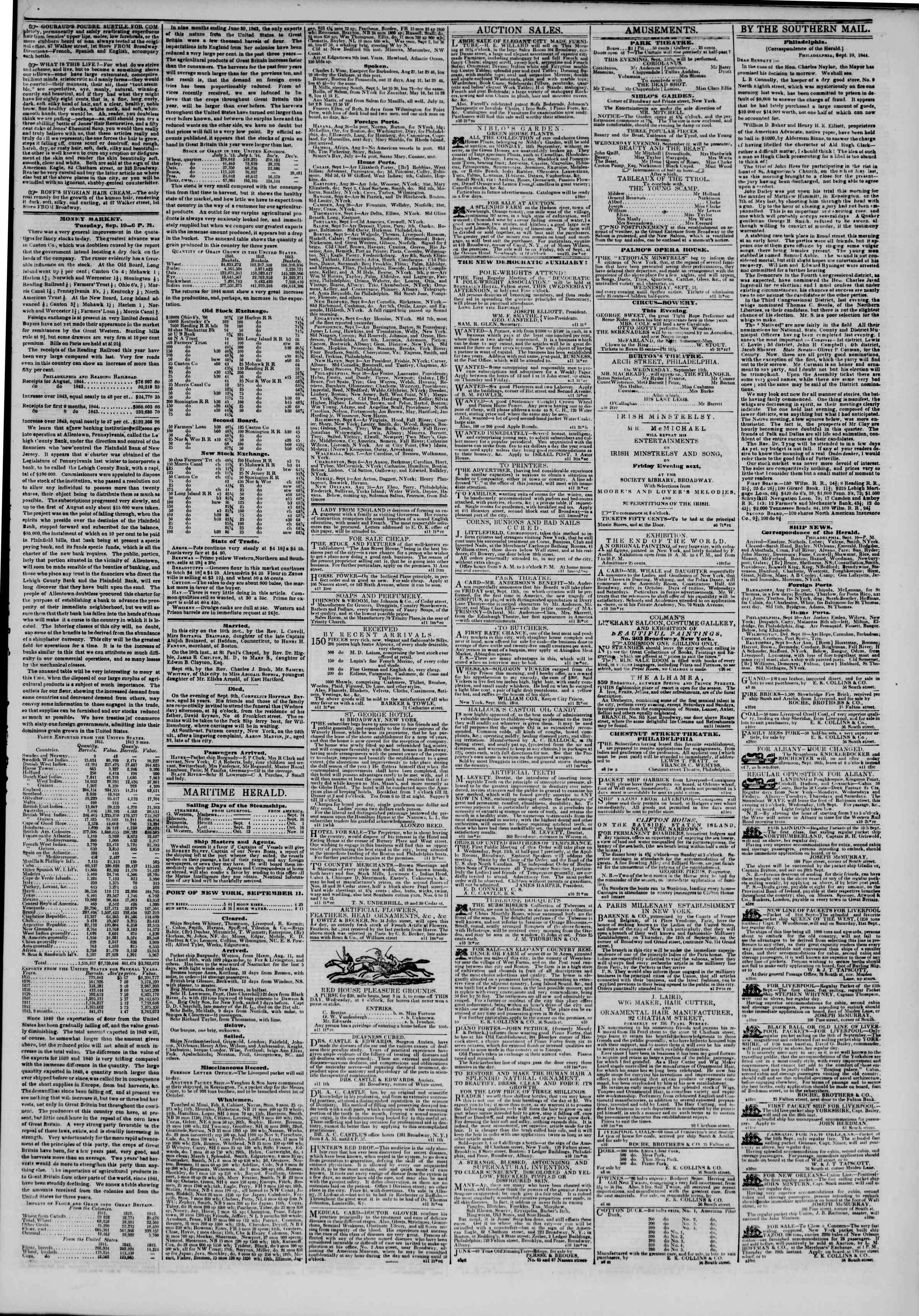 Newspaper of The New York Herald dated September 11, 1844 Page 3
