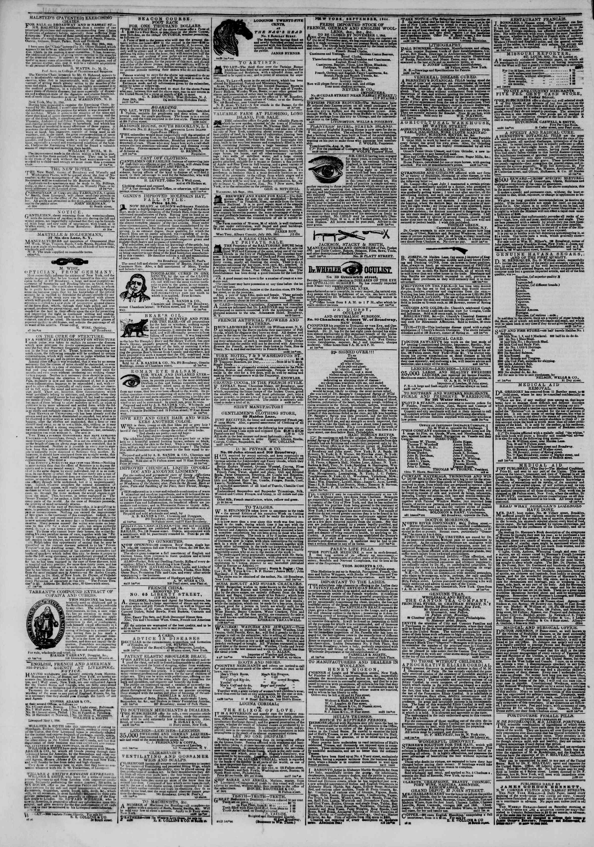 Newspaper of The New York Herald dated September 11, 1844 Page 4