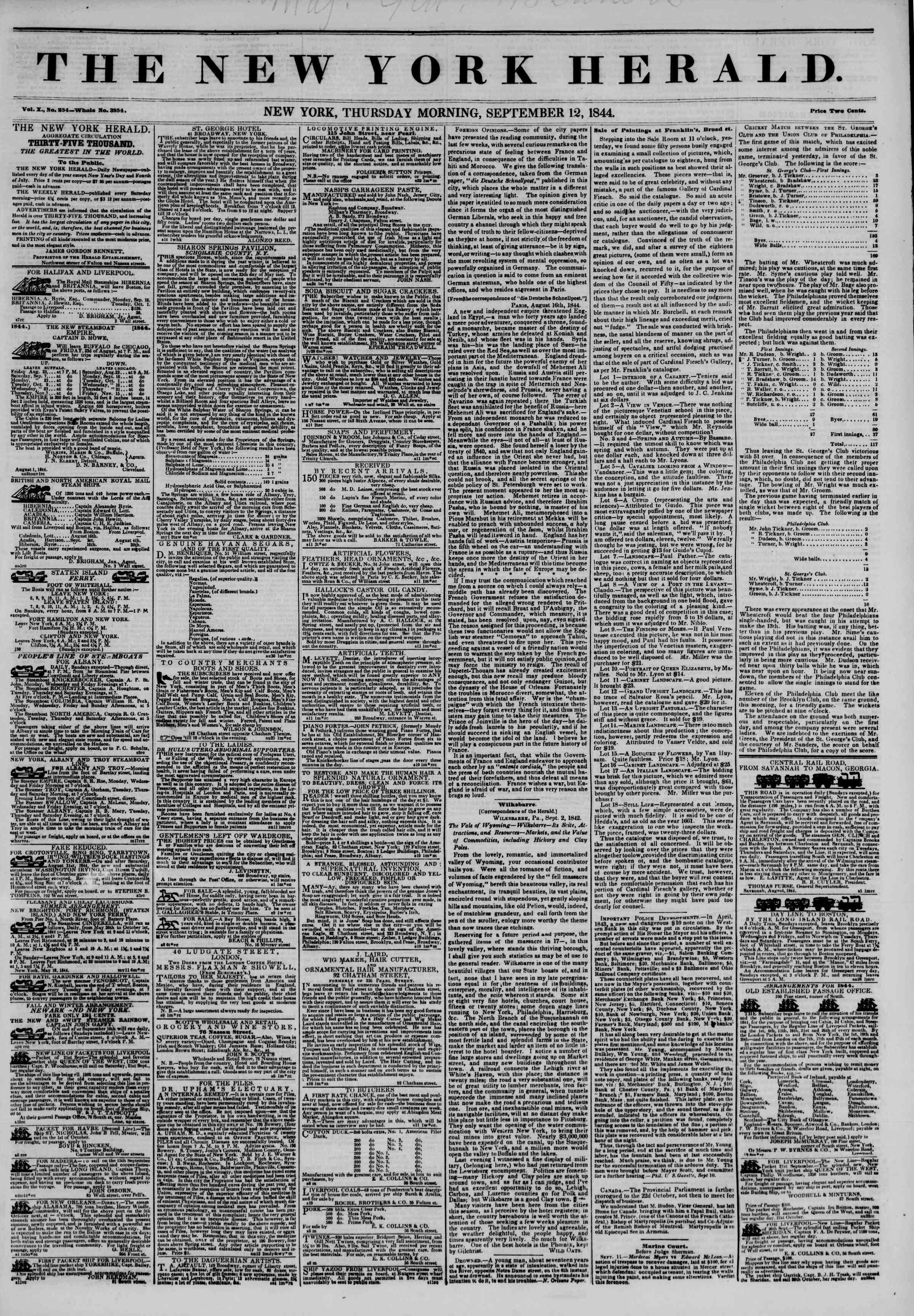 September 12, 1844 Tarihli The New York Herald Gazetesi Sayfa 1