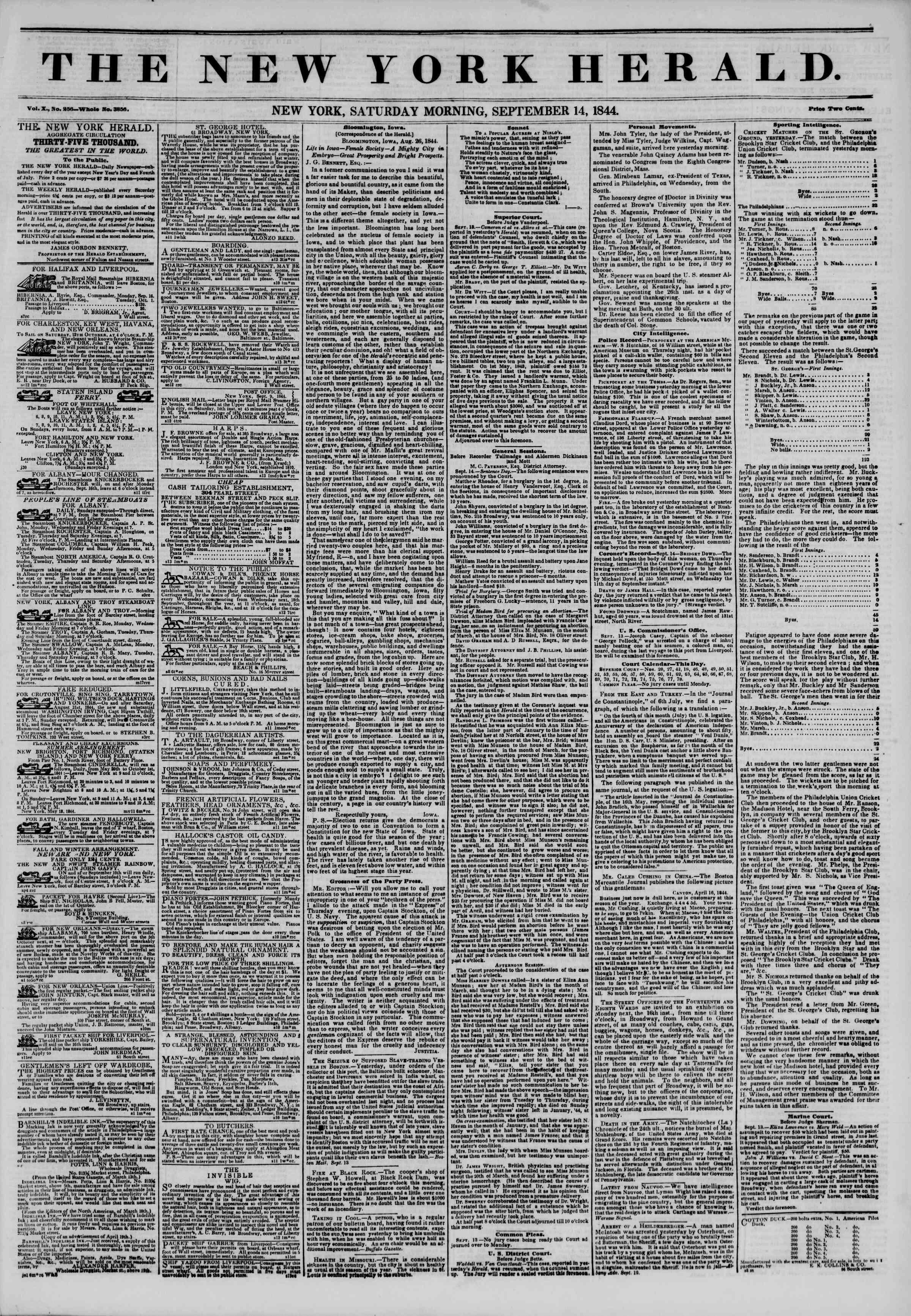 September 14, 1844 Tarihli The New York Herald Gazetesi Sayfa 1