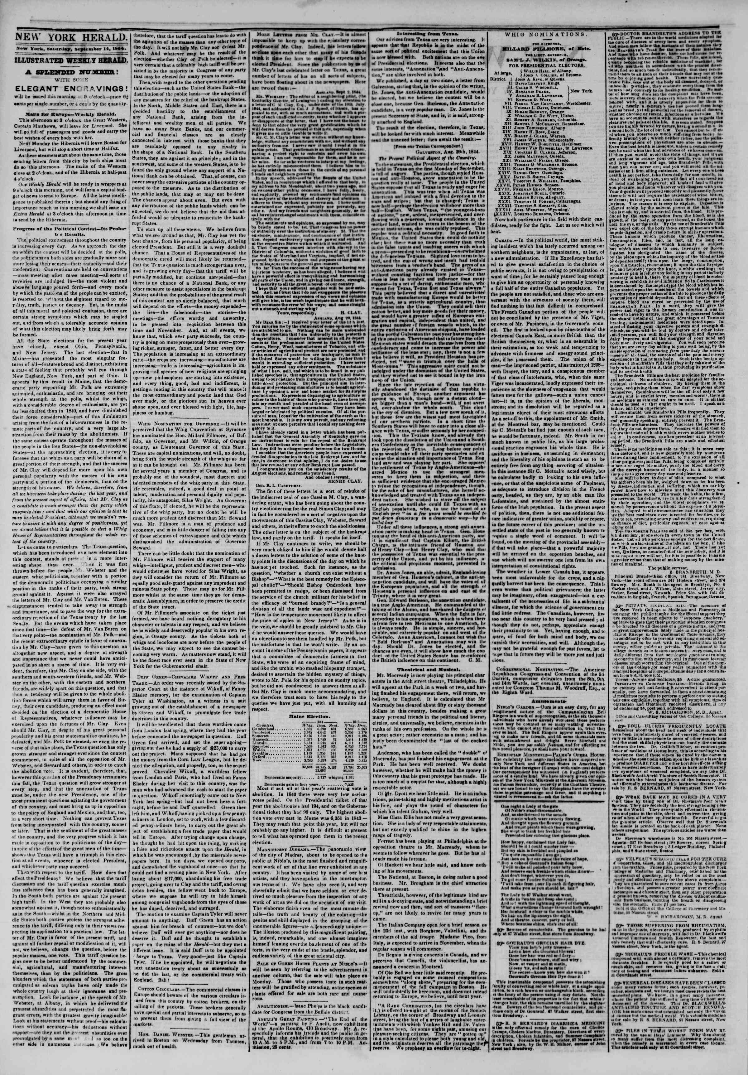 Newspaper of The New York Herald dated September 14, 1844 Page 2