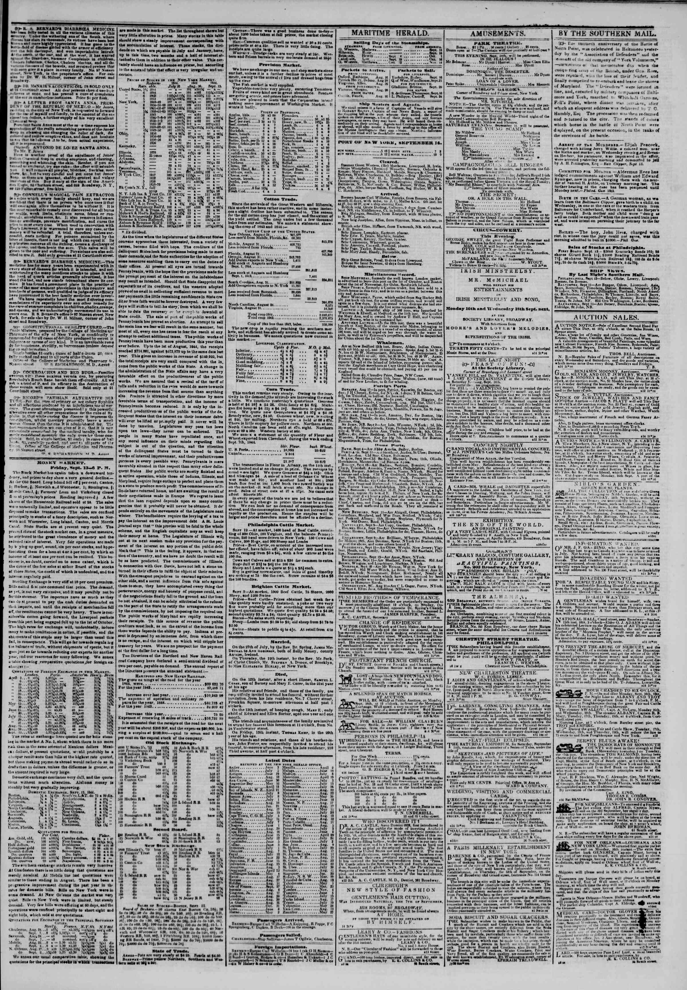 Newspaper of The New York Herald dated September 14, 1844 Page 3