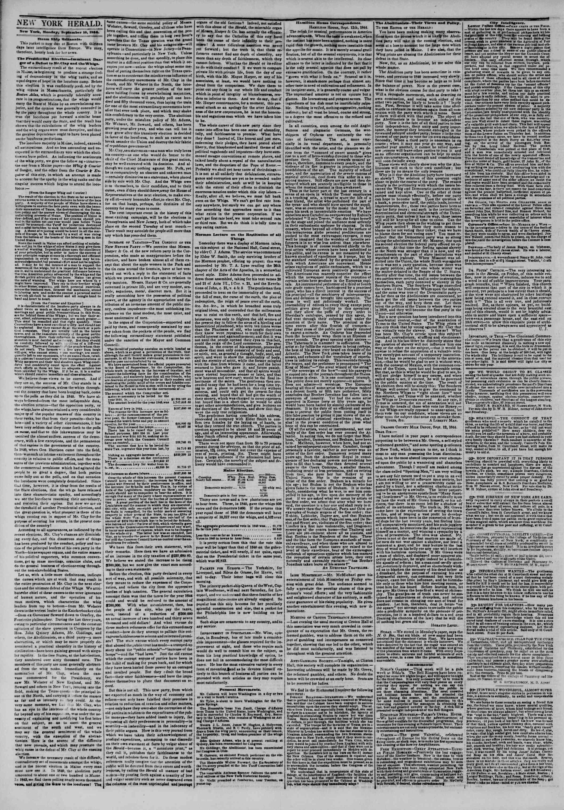 September 16, 1844 Tarihli The New York Herald Gazetesi Sayfa 2